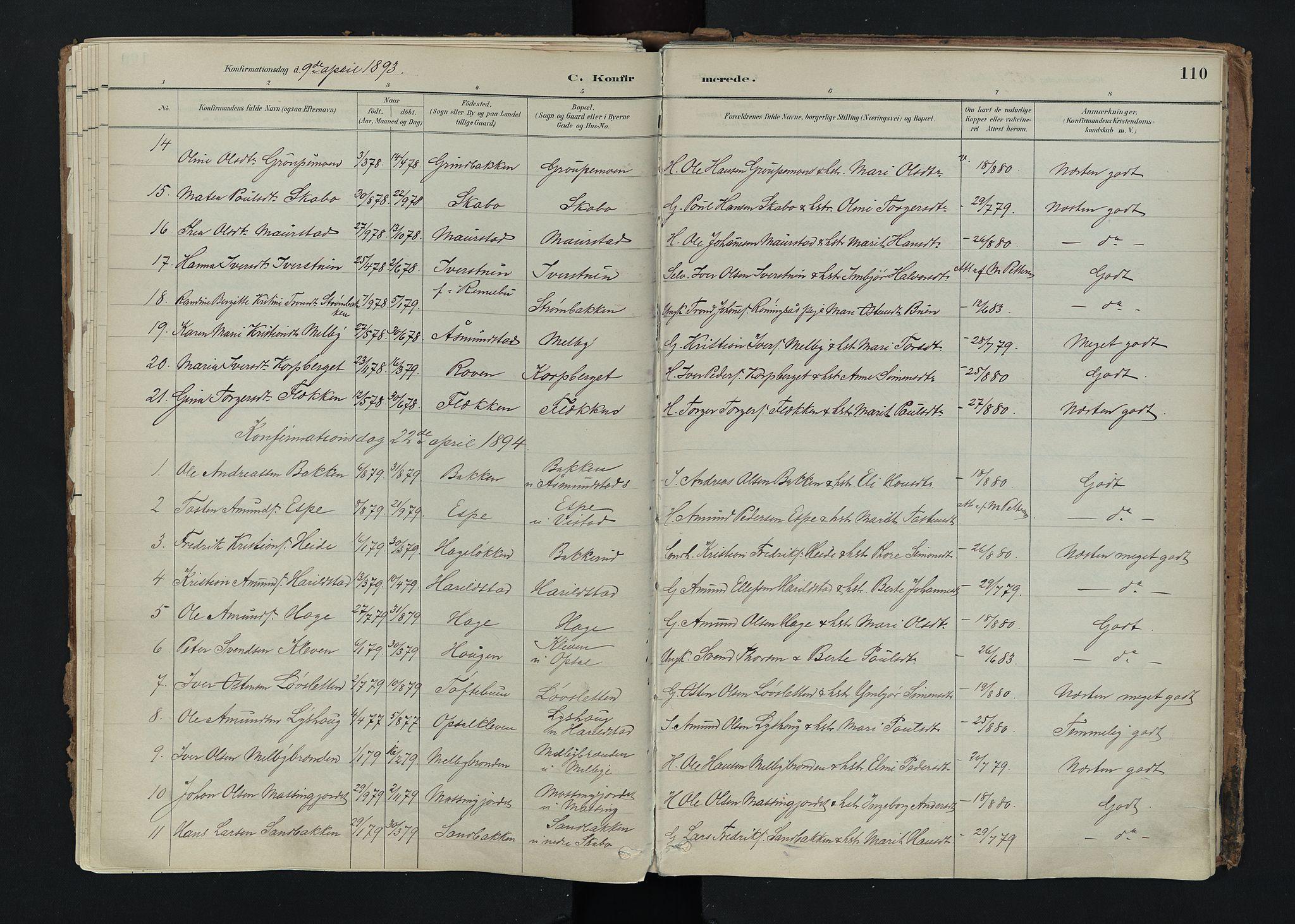 SAH, Nord-Fron prestekontor, Ministerialbok nr. 5, 1884-1914, s. 110