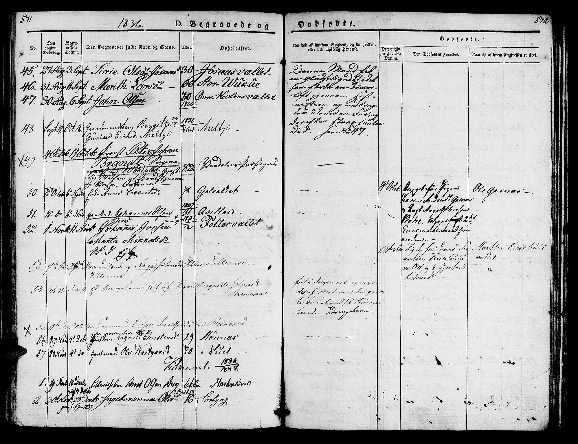 SAT, Ministerialprotokoller, klokkerbøker og fødselsregistre - Nord-Trøndelag, 723/L0238: Ministerialbok nr. 723A07, 1831-1840, s. 571-572