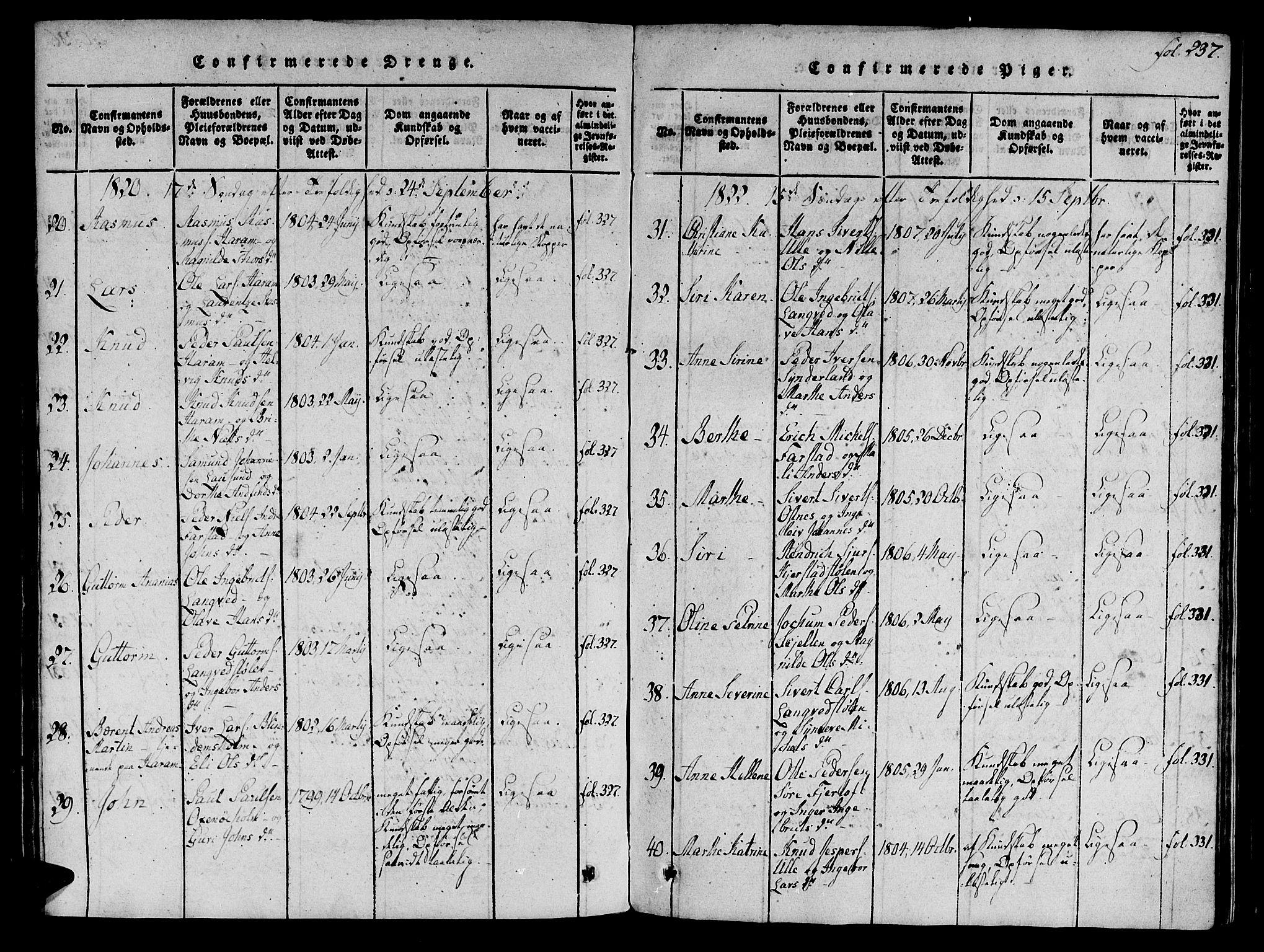 SAT, Ministerialprotokoller, klokkerbøker og fødselsregistre - Møre og Romsdal, 536/L0495: Ministerialbok nr. 536A04, 1818-1847, s. 237