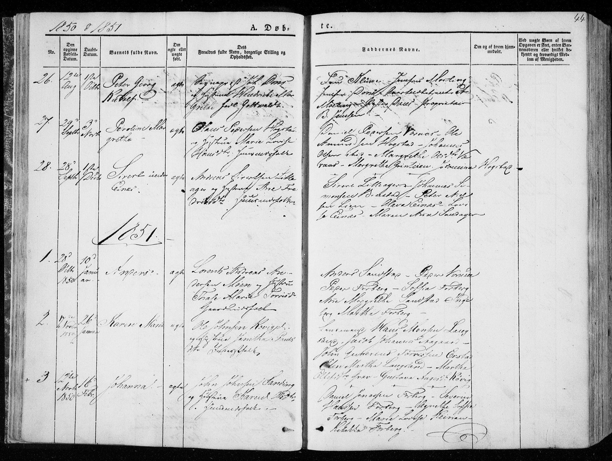 SAT, Ministerialprotokoller, klokkerbøker og fødselsregistre - Nord-Trøndelag, 722/L0218: Ministerialbok nr. 722A05, 1843-1868, s. 44