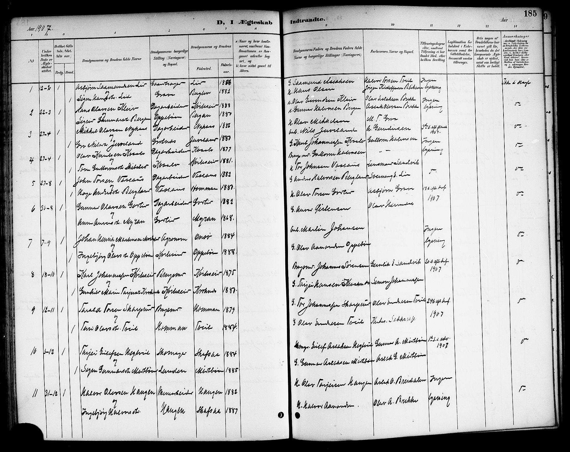 SAKO, Kviteseid kirkebøker, G/Ga/L0002: Klokkerbok nr. I 2, 1893-1918, s. 185