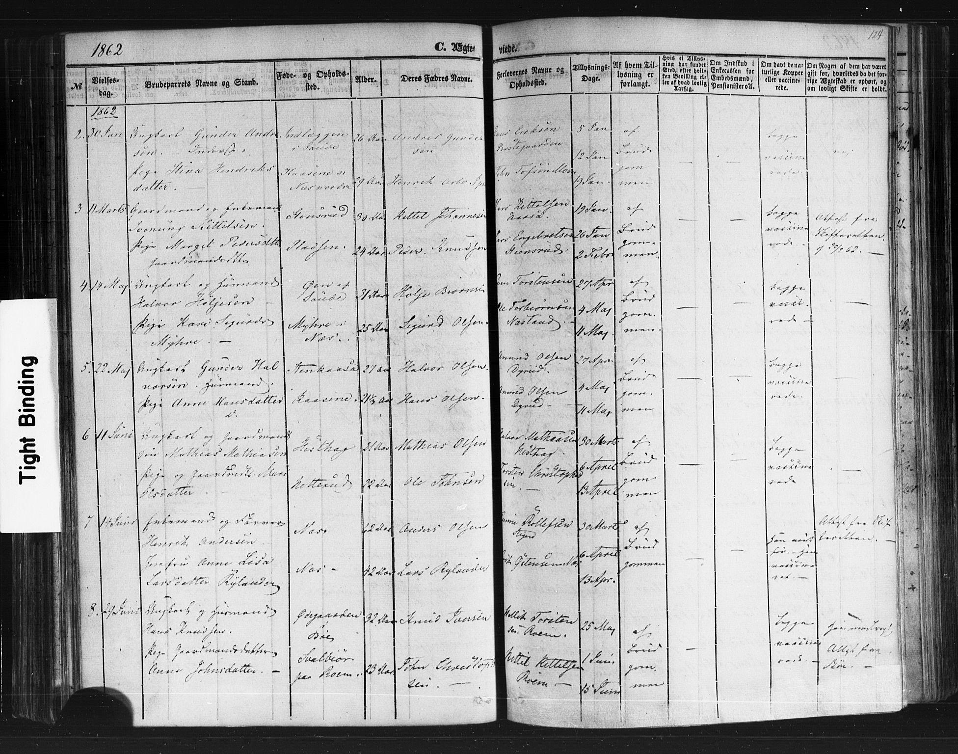 SAKO, Sauherad kirkebøker, F/Fb/L0001: Ministerialbok nr. II 1, 1851-1877, s. 124