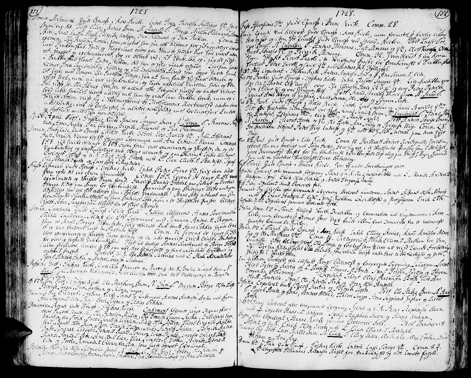 SAT, Ministerialprotokoller, klokkerbøker og fødselsregistre - Møre og Romsdal, 544/L0568: Ministerialbok nr. 544A01, 1725-1763, s. 151-152
