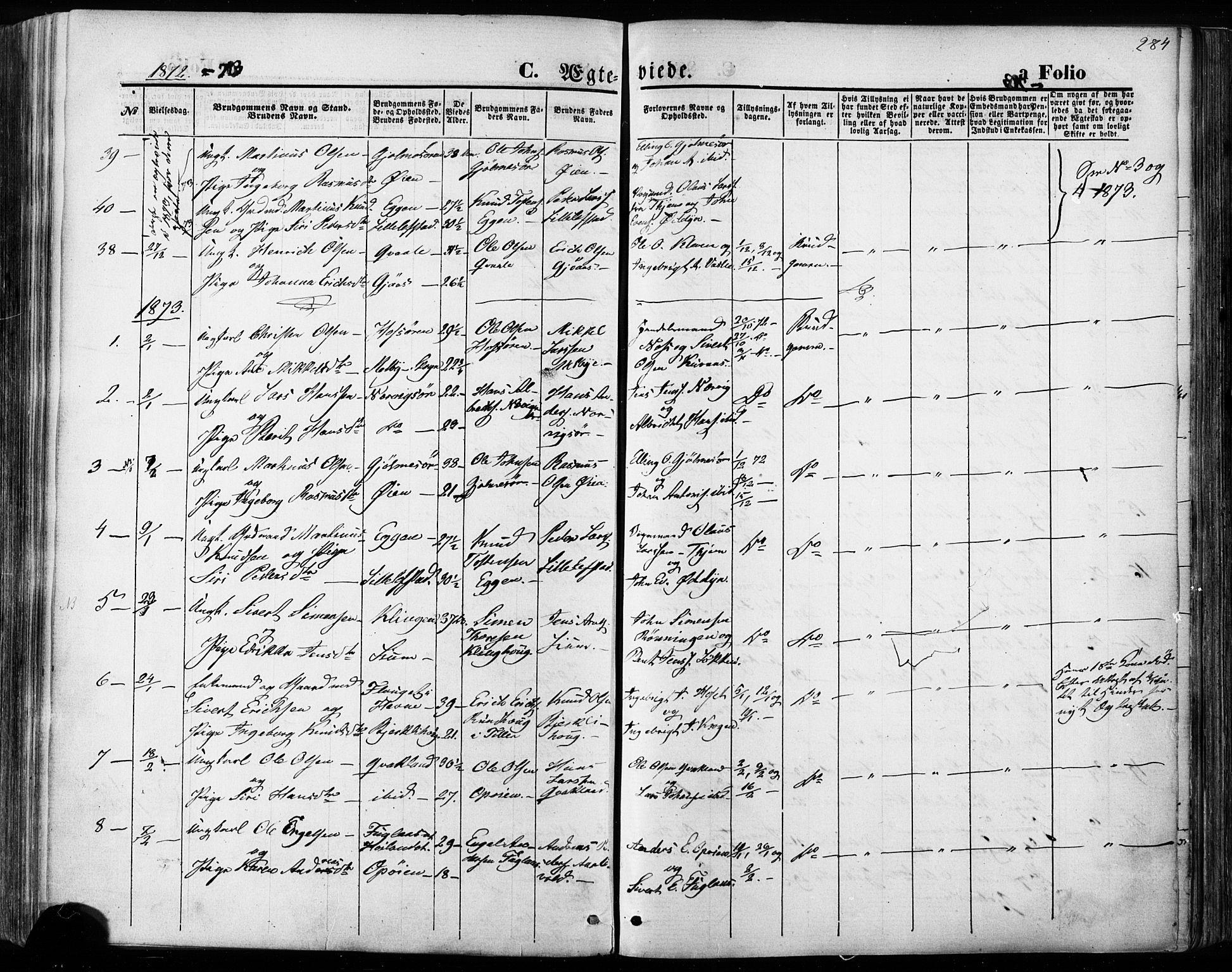 SAT, Ministerialprotokoller, klokkerbøker og fødselsregistre - Sør-Trøndelag, 668/L0807: Ministerialbok nr. 668A07, 1870-1880, s. 284
