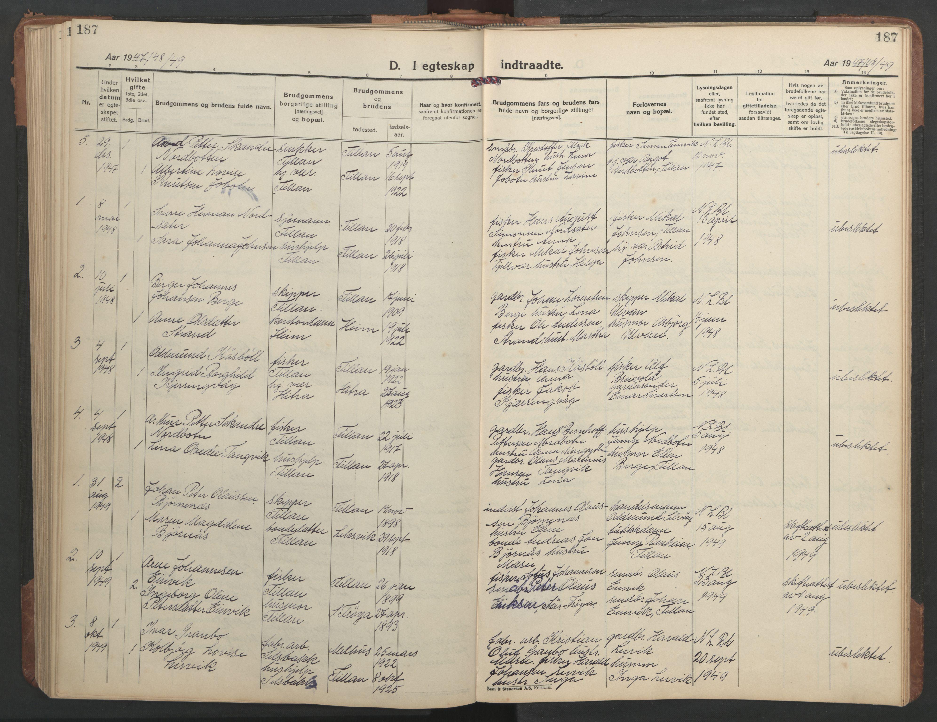 SAT, Ministerialprotokoller, klokkerbøker og fødselsregistre - Sør-Trøndelag, 638/L0569: Klokkerbok nr. 638C01, 1923-1961, s. 187