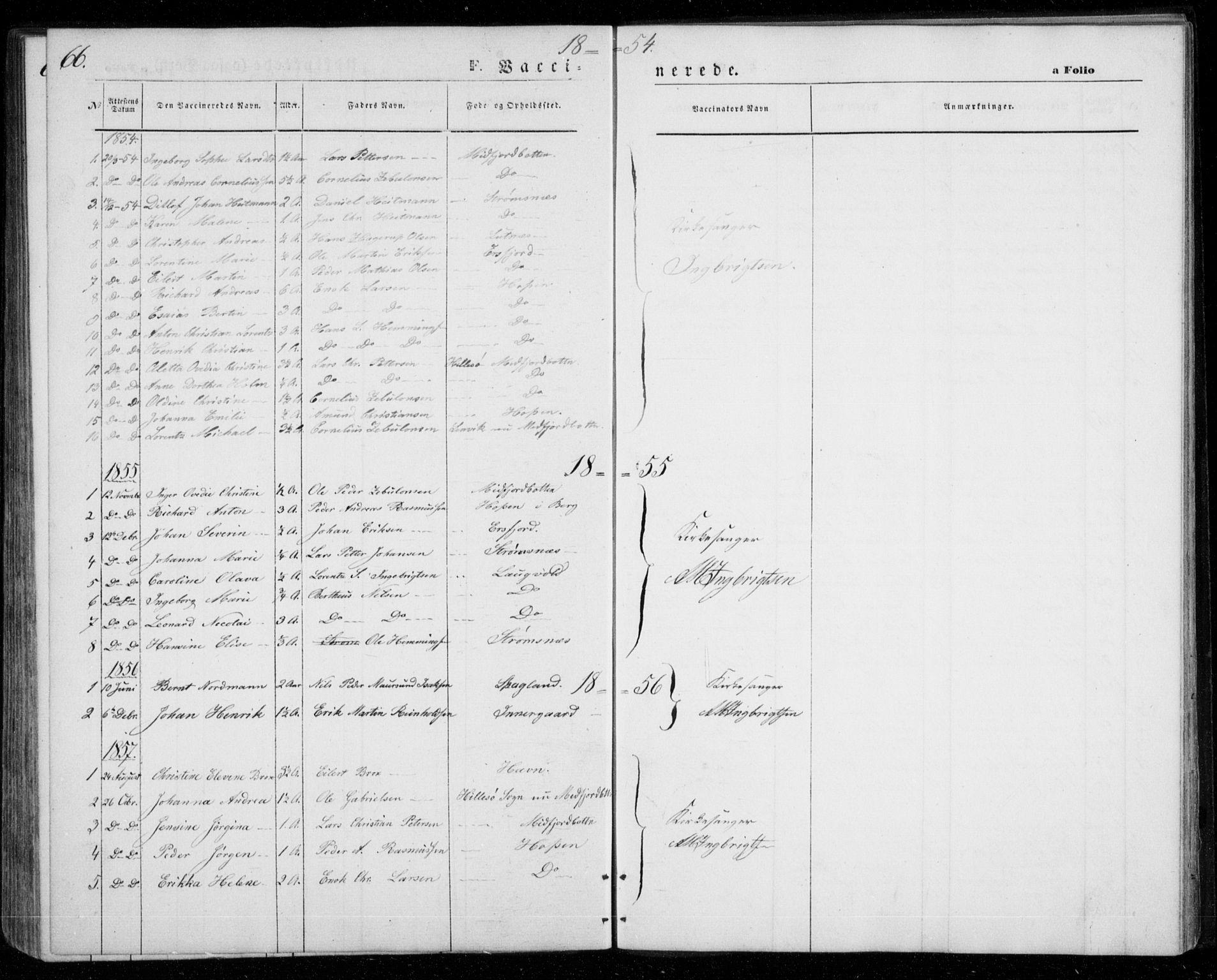 SATØ, Mefjord/Berg sokneprestkontor, G/Ga/Gab/L0002klokker: Klokkerbok nr. 2, 1851-1874, s. 66