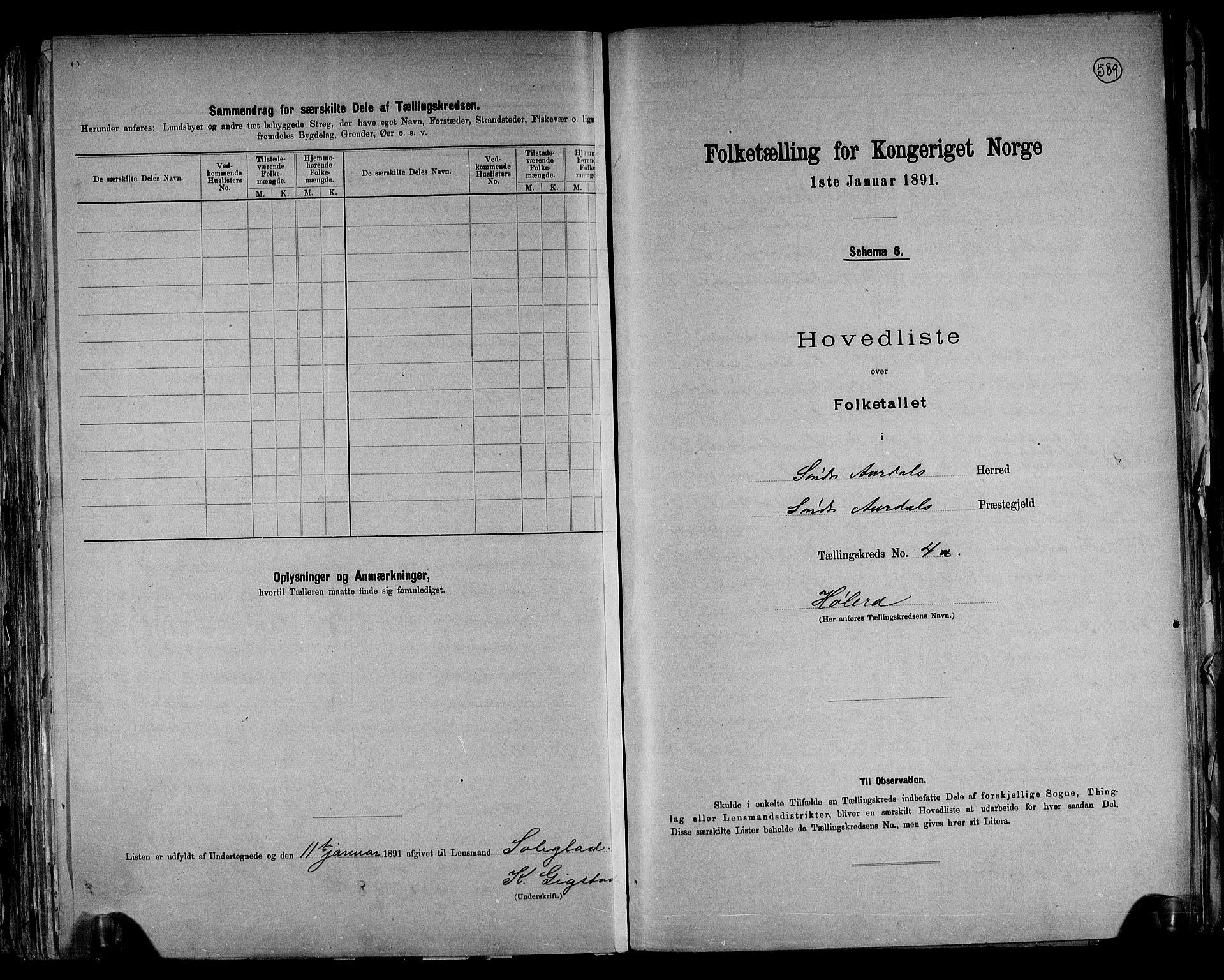 RA, Folketelling 1891 for 0540 Sør-Aurdal herred, 1891, s. 12