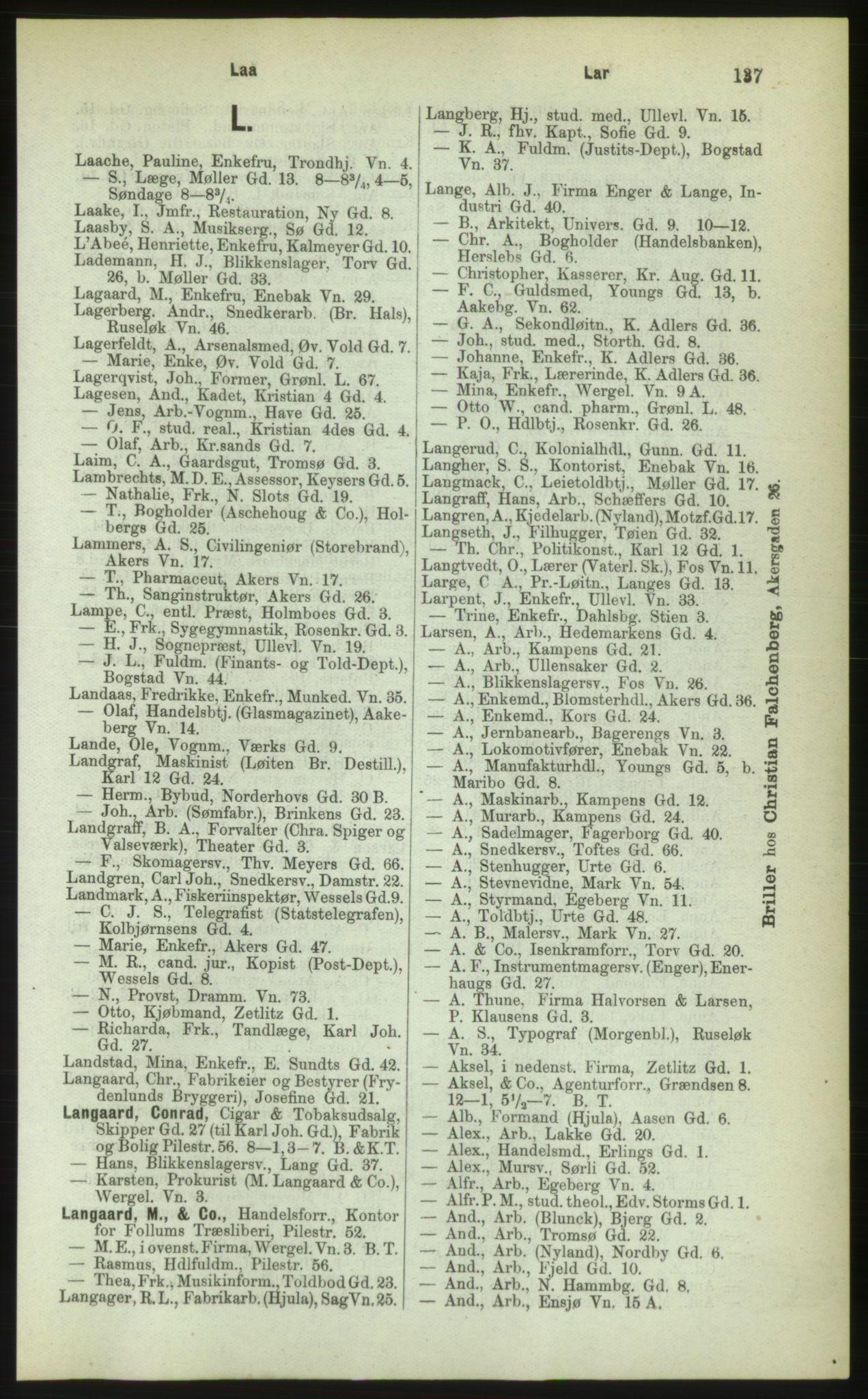 PUBL, Kristiania/Oslo adressebok, 1883, s. 137