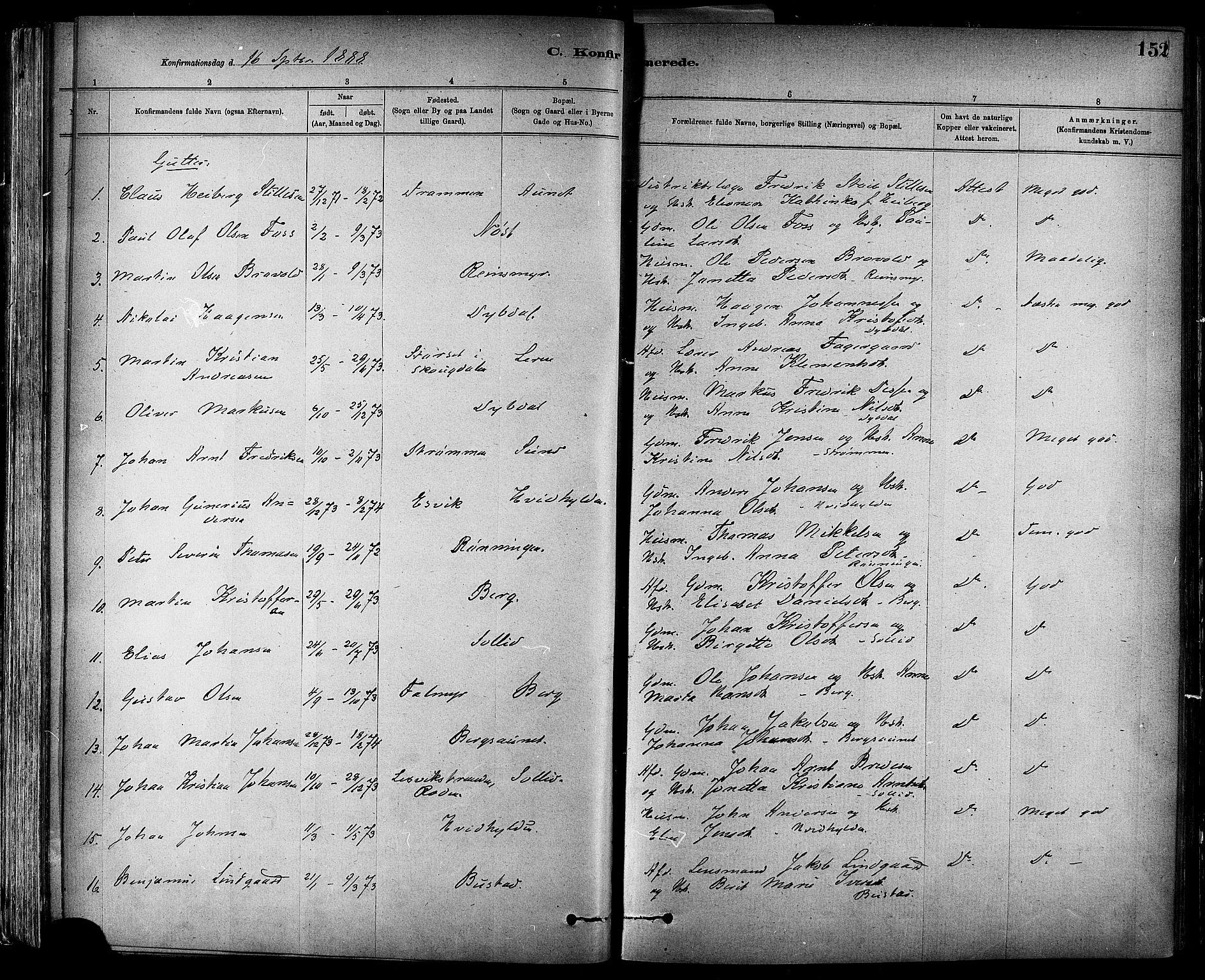 SAT, Ministerialprotokoller, klokkerbøker og fødselsregistre - Sør-Trøndelag, 647/L0634: Ministerialbok nr. 647A01, 1885-1896, s. 152