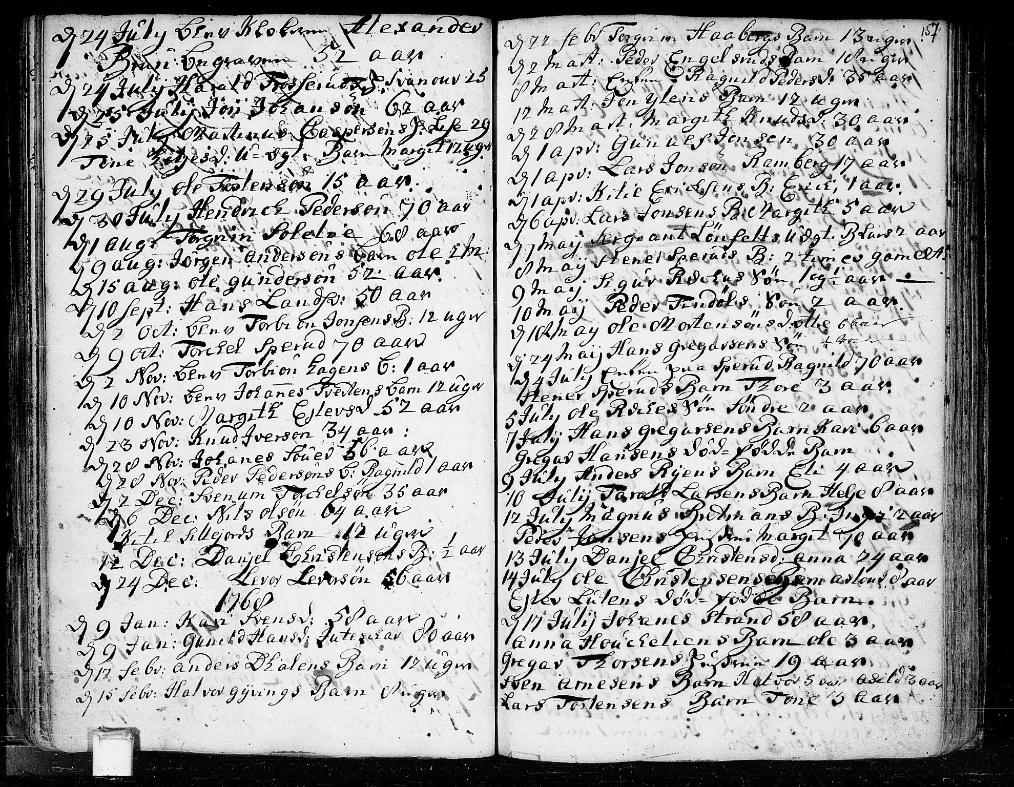 SAKO, Heddal kirkebøker, F/Fa/L0003: Ministerialbok nr. I 3, 1723-1783, s. 157