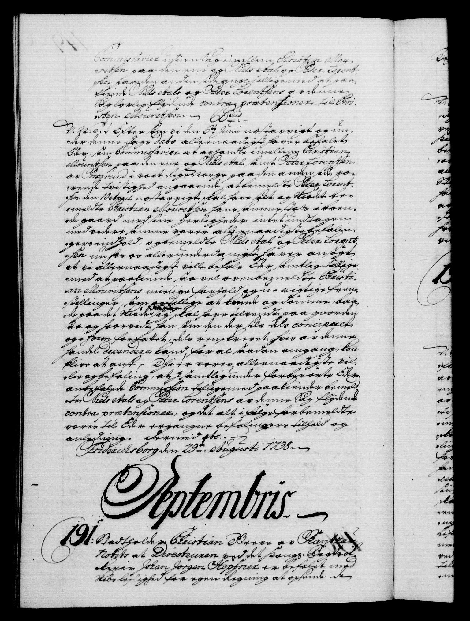 RA, Danske Kanselli 1572-1799, F/Fc/Fca/Fcab/L0028: Norske tegnelser, 1738-1740, s. 149b