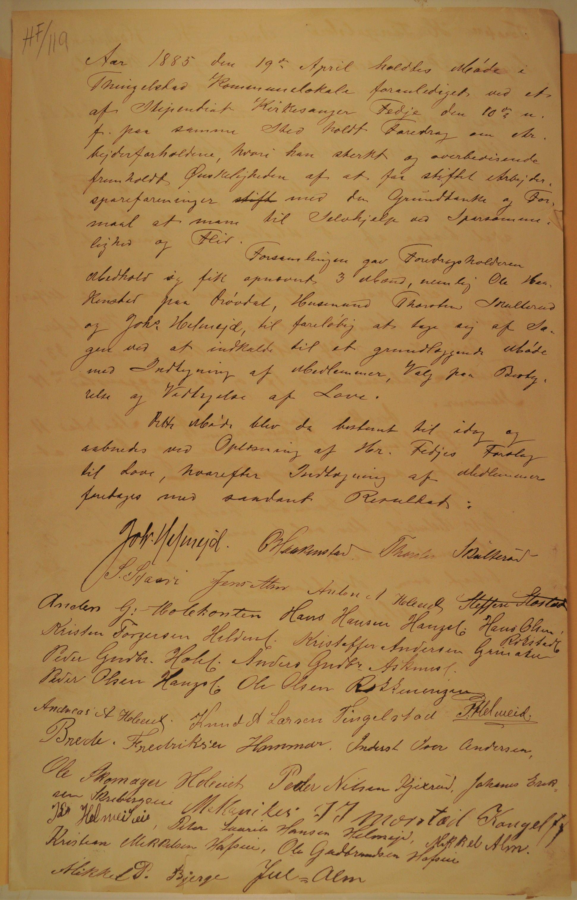 OARM, Thingelstad Arbeiderspareforening, stiftelsesdokument 1885, 1885