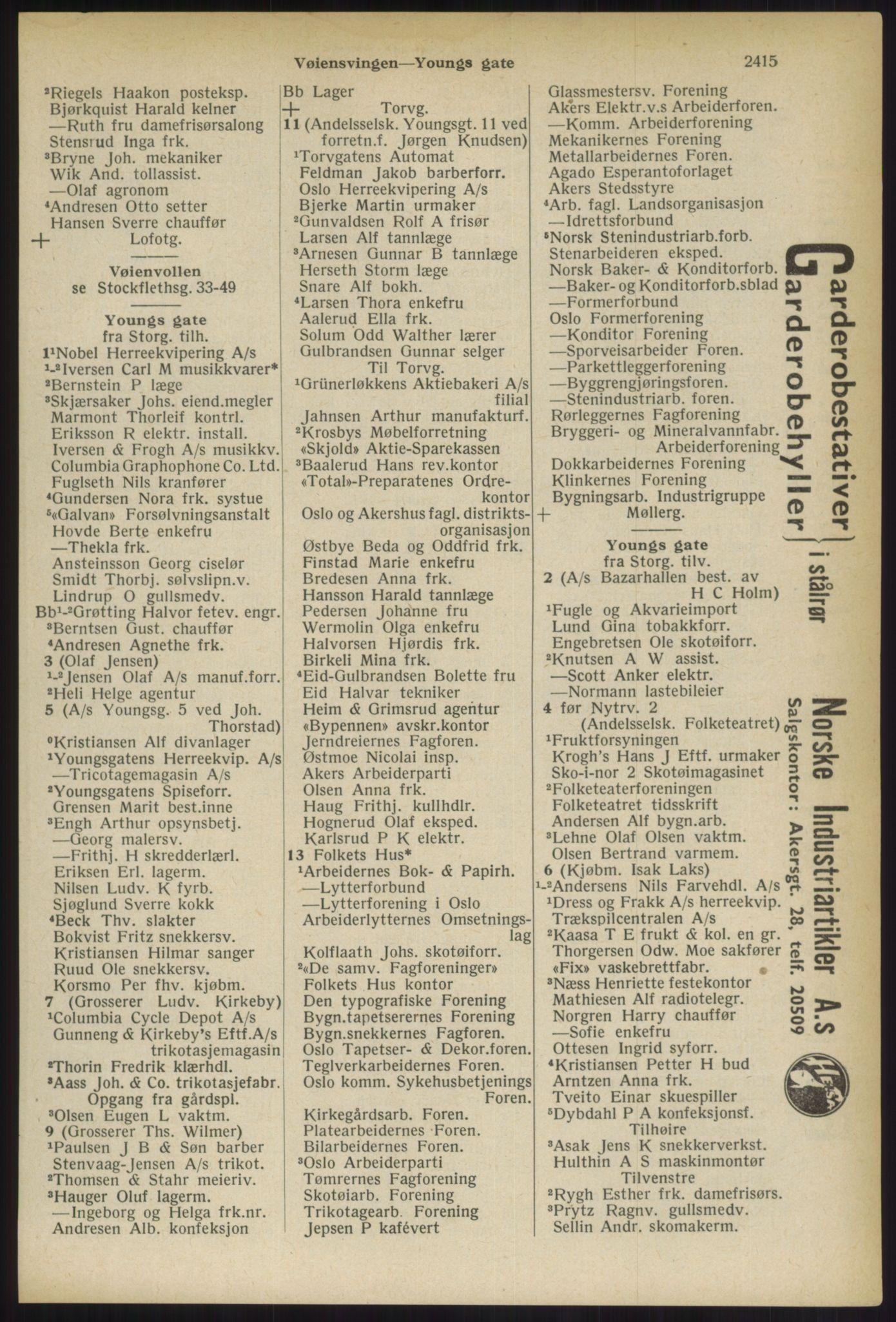 RA, Oslo adressebok (publikasjon)*, 1936, s. 2415