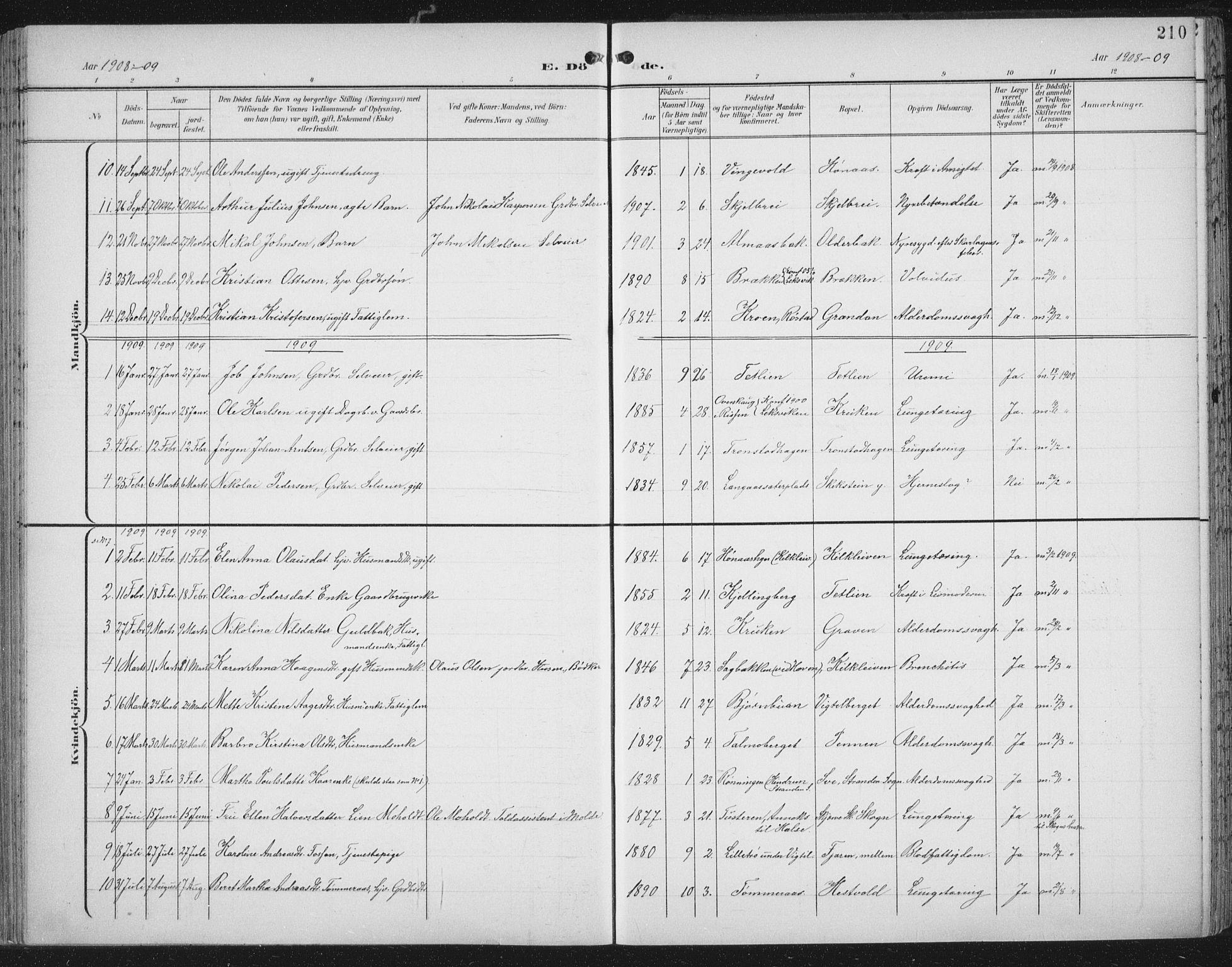 SAT, Ministerialprotokoller, klokkerbøker og fødselsregistre - Nord-Trøndelag, 701/L0011: Ministerialbok nr. 701A11, 1899-1915, s. 210