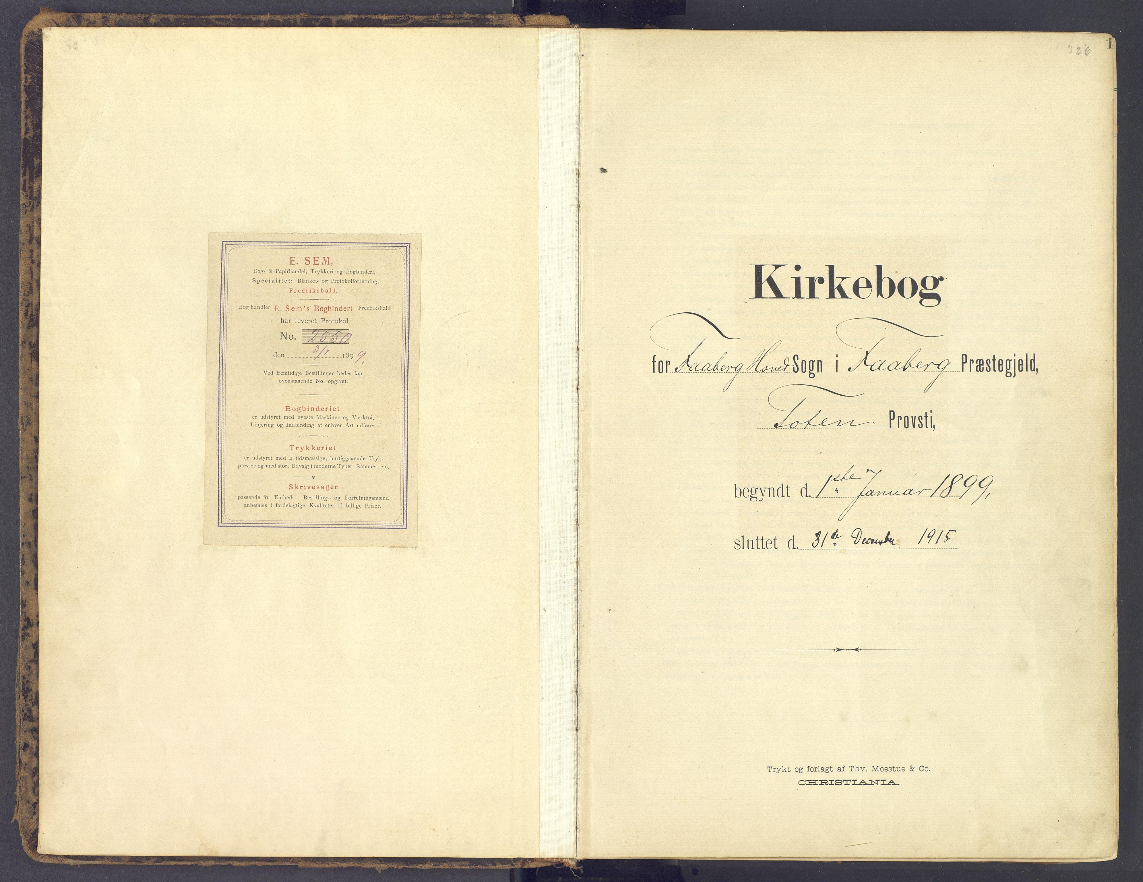 SAH, Fåberg prestekontor, Ministerialbok nr. 12, 1899-1915, s. 1
