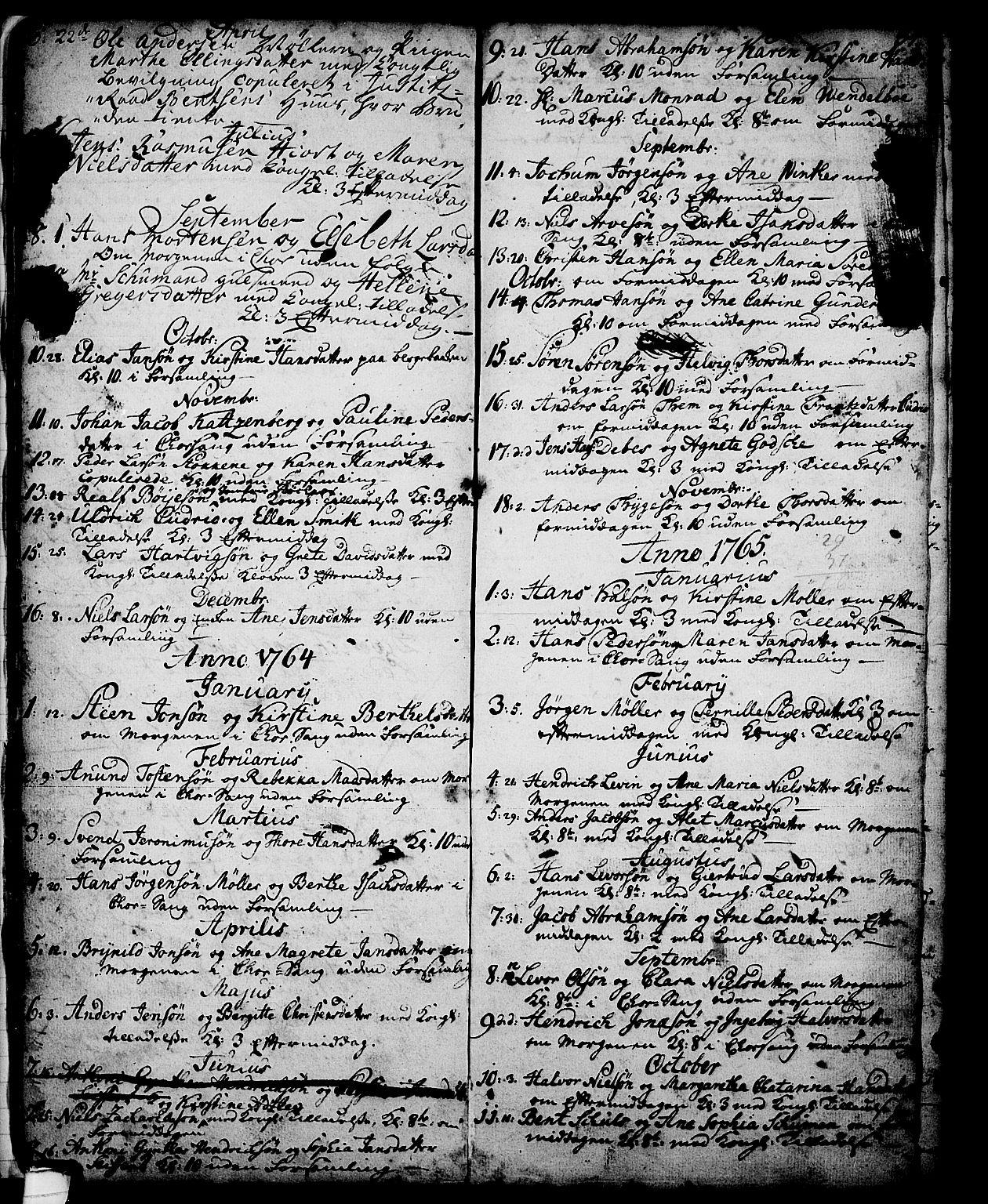 SAKO, Skien kirkebøker, G/Ga/L0001: Klokkerbok nr. 1, 1756-1791, s. 34