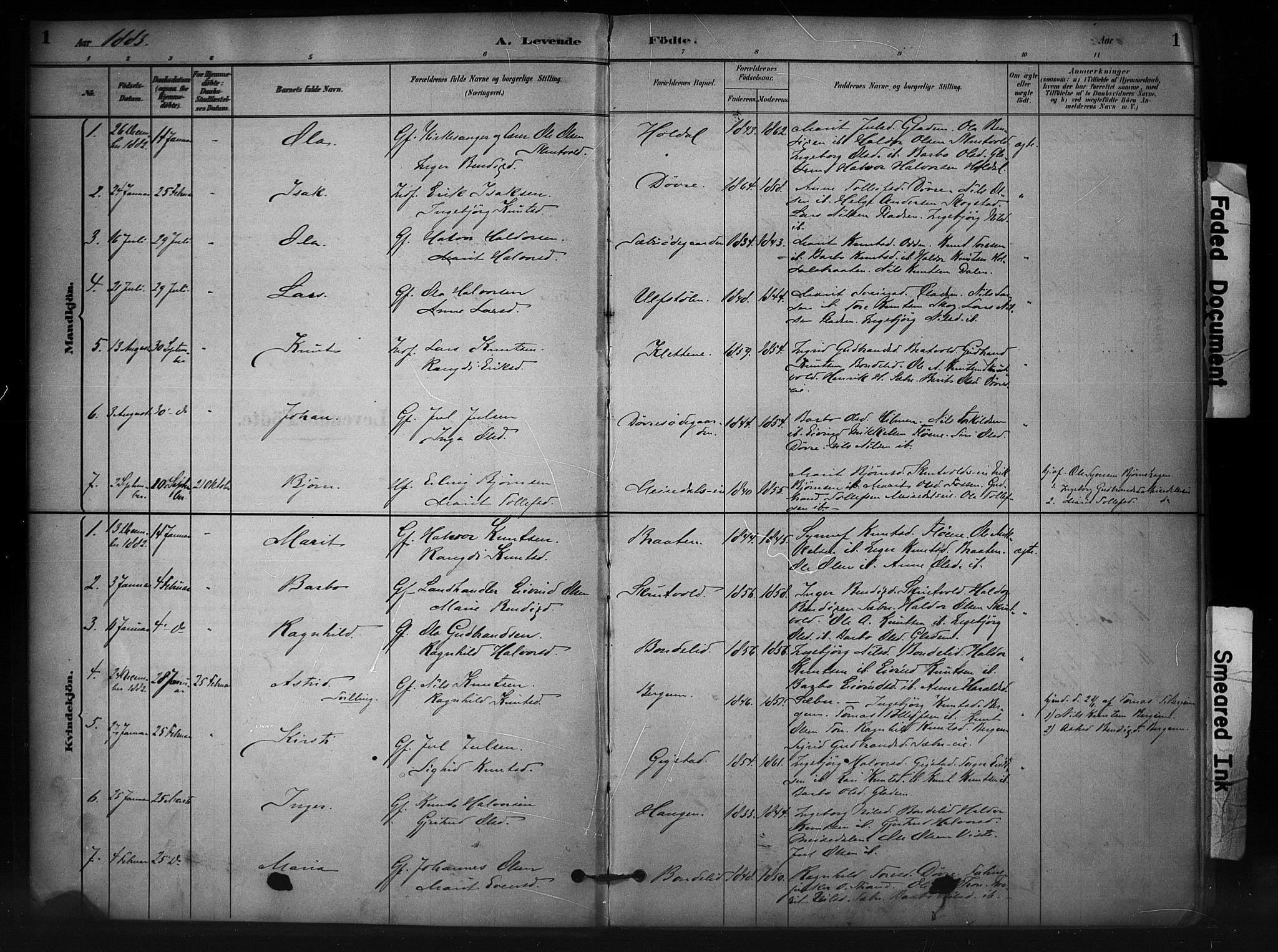 SAH, Nord-Aurdal prestekontor, Ministerialbok nr. 12, 1883-1895, s. 1