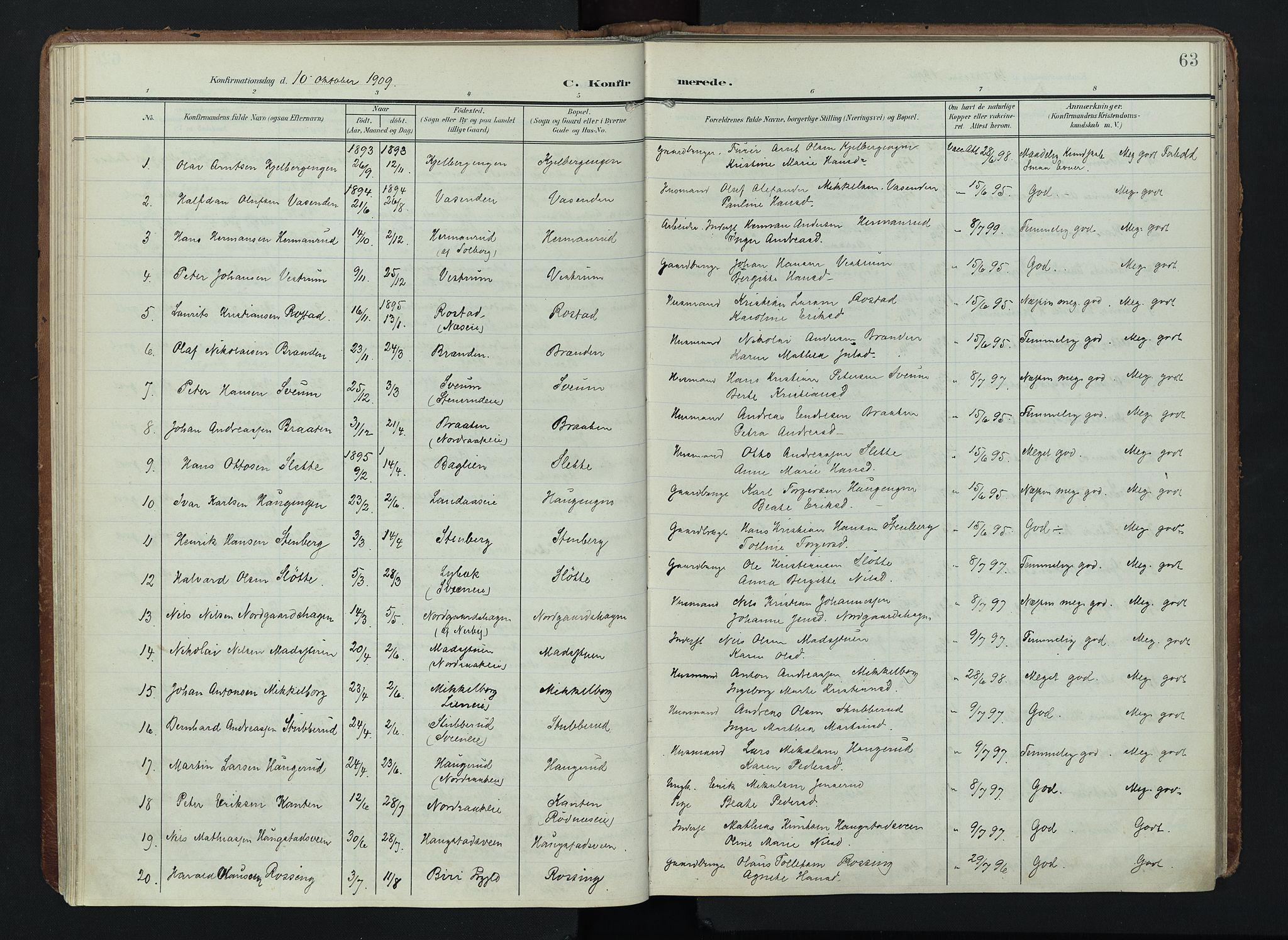 SAH, Søndre Land prestekontor, K/L0005: Ministerialbok nr. 5, 1905-1914, s. 63