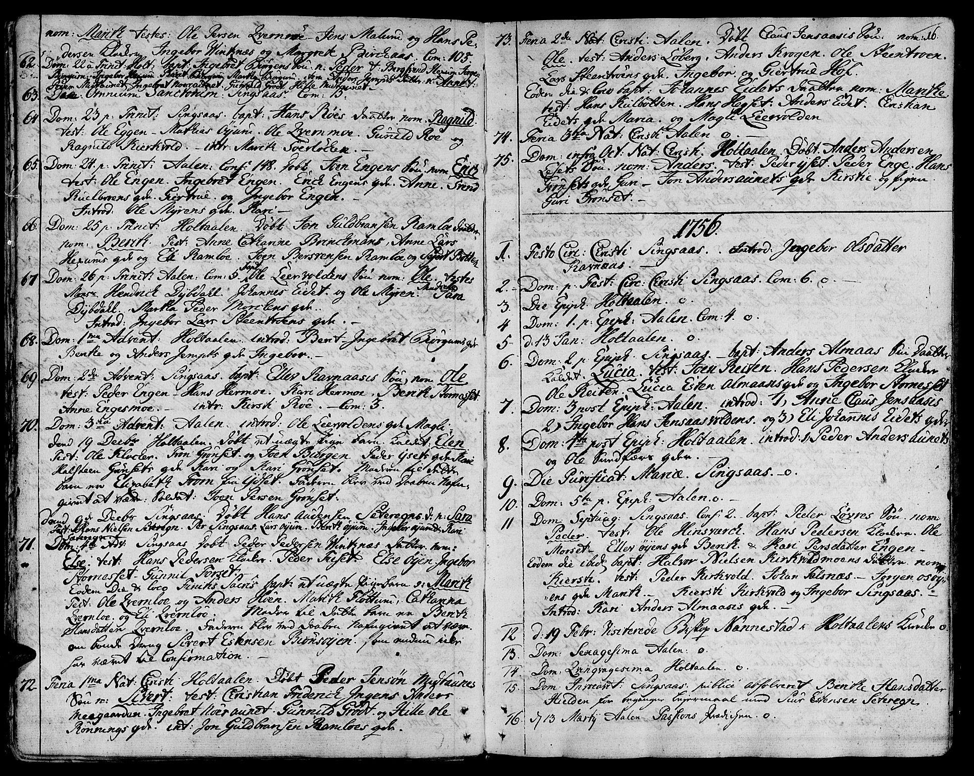 SAT, Ministerialprotokoller, klokkerbøker og fødselsregistre - Sør-Trøndelag, 685/L0952: Ministerialbok nr. 685A01, 1745-1804, s. 16