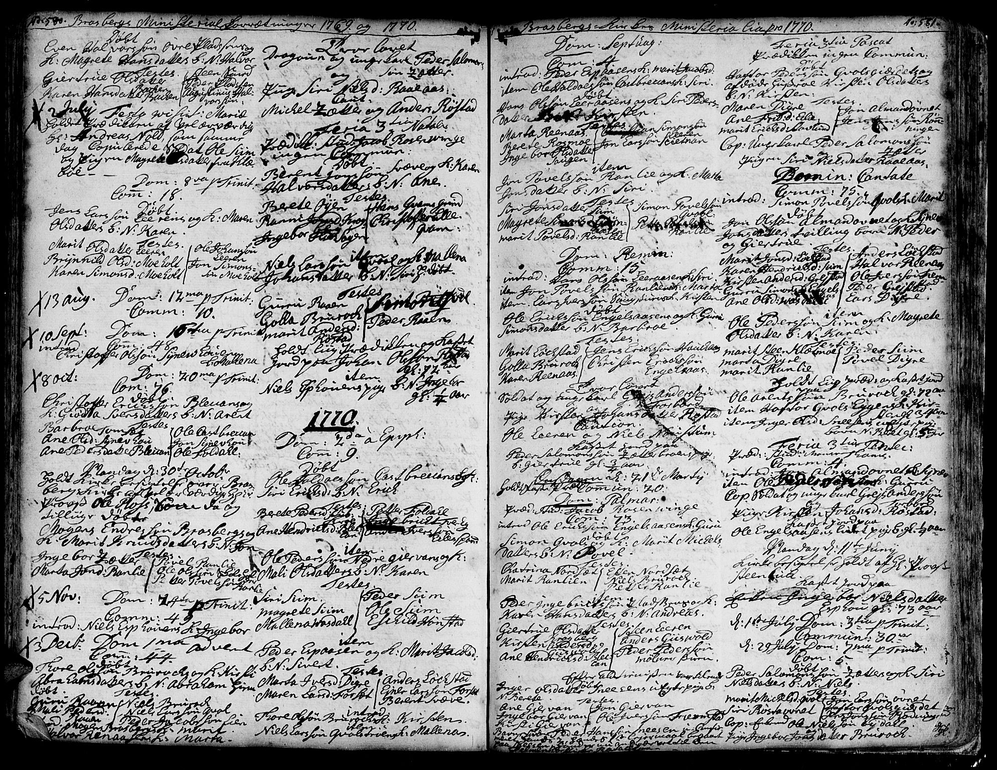 SAT, Ministerialprotokoller, klokkerbøker og fødselsregistre - Sør-Trøndelag, 606/L0278: Ministerialbok nr. 606A01 /4, 1727-1780, s. 580-581