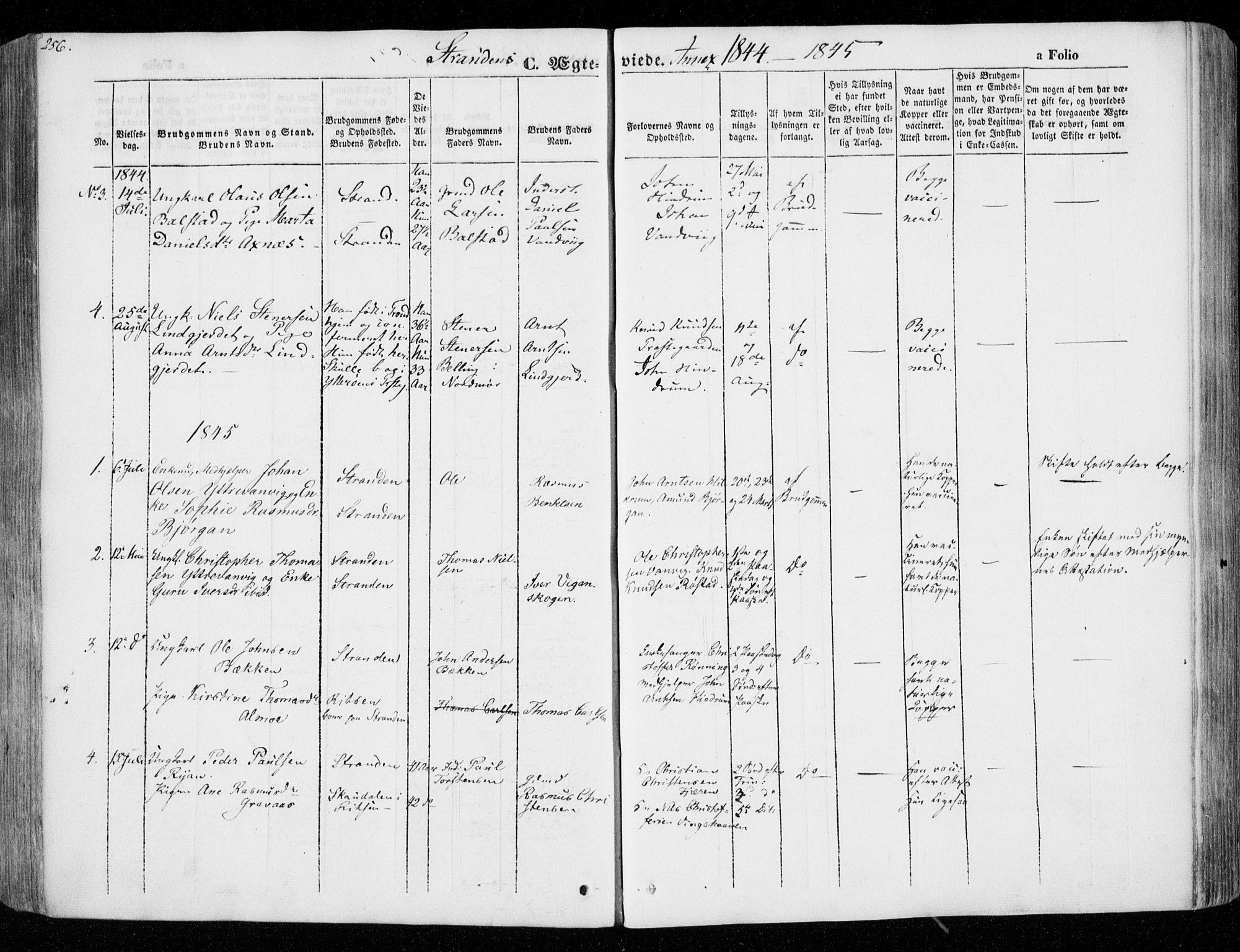 SAT, Ministerialprotokoller, klokkerbøker og fødselsregistre - Nord-Trøndelag, 701/L0007: Ministerialbok nr. 701A07 /2, 1842-1854, s. 256