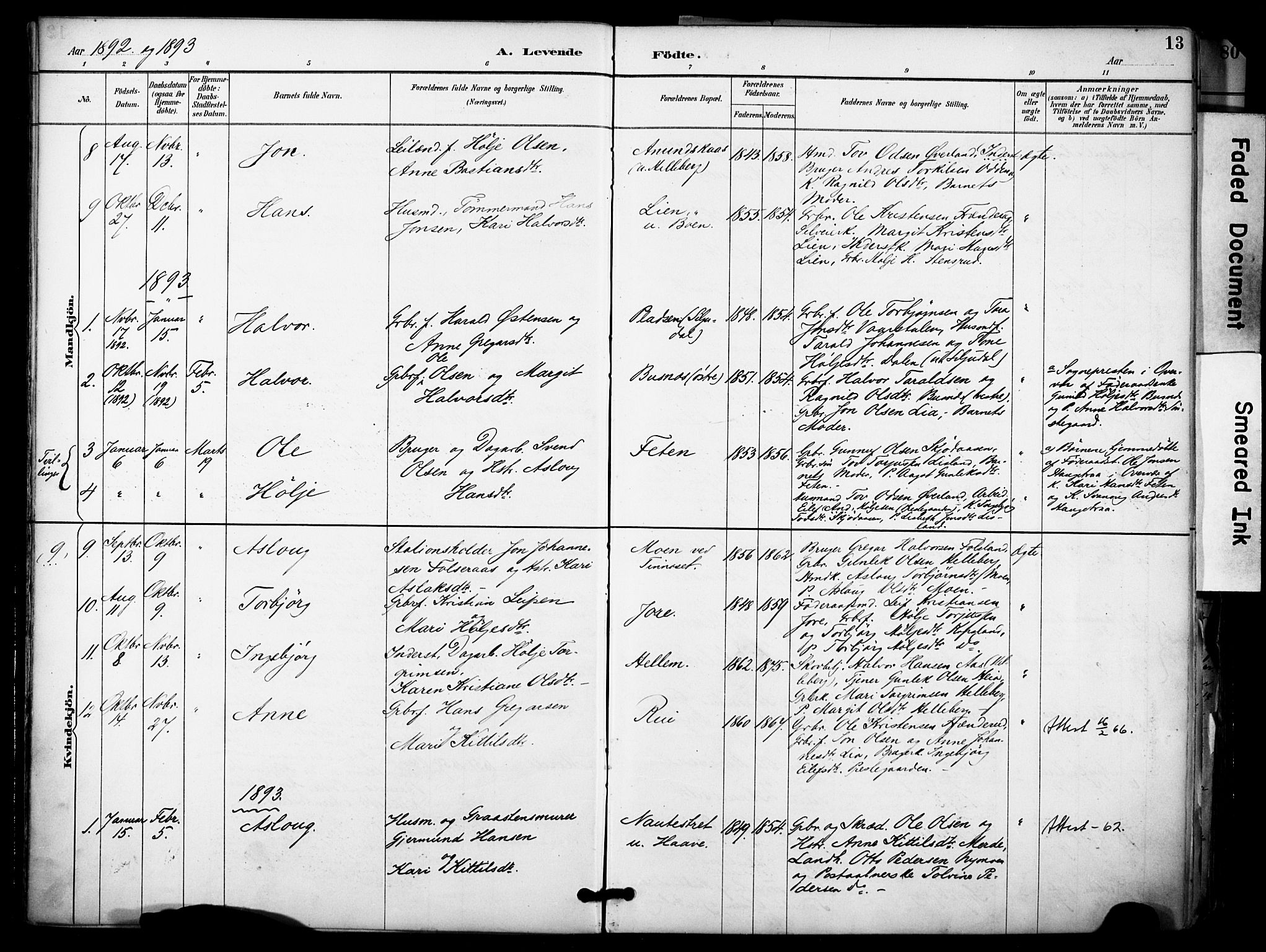 SAKO, Gransherad kirkebøker, F/Fa/L0005: Ministerialbok nr. I 5, 1887-1916, s. 13