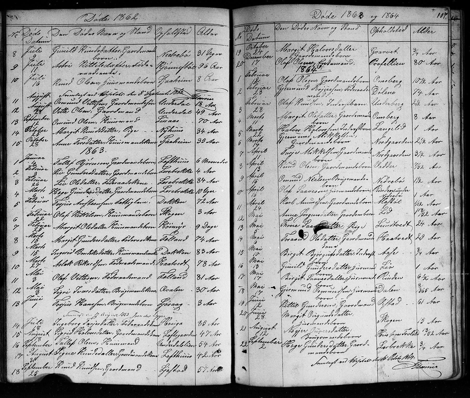 SAKO, Mo kirkebøker, G/Ga/L0001: Klokkerbok nr. I 1, 1851-1891, s. 107