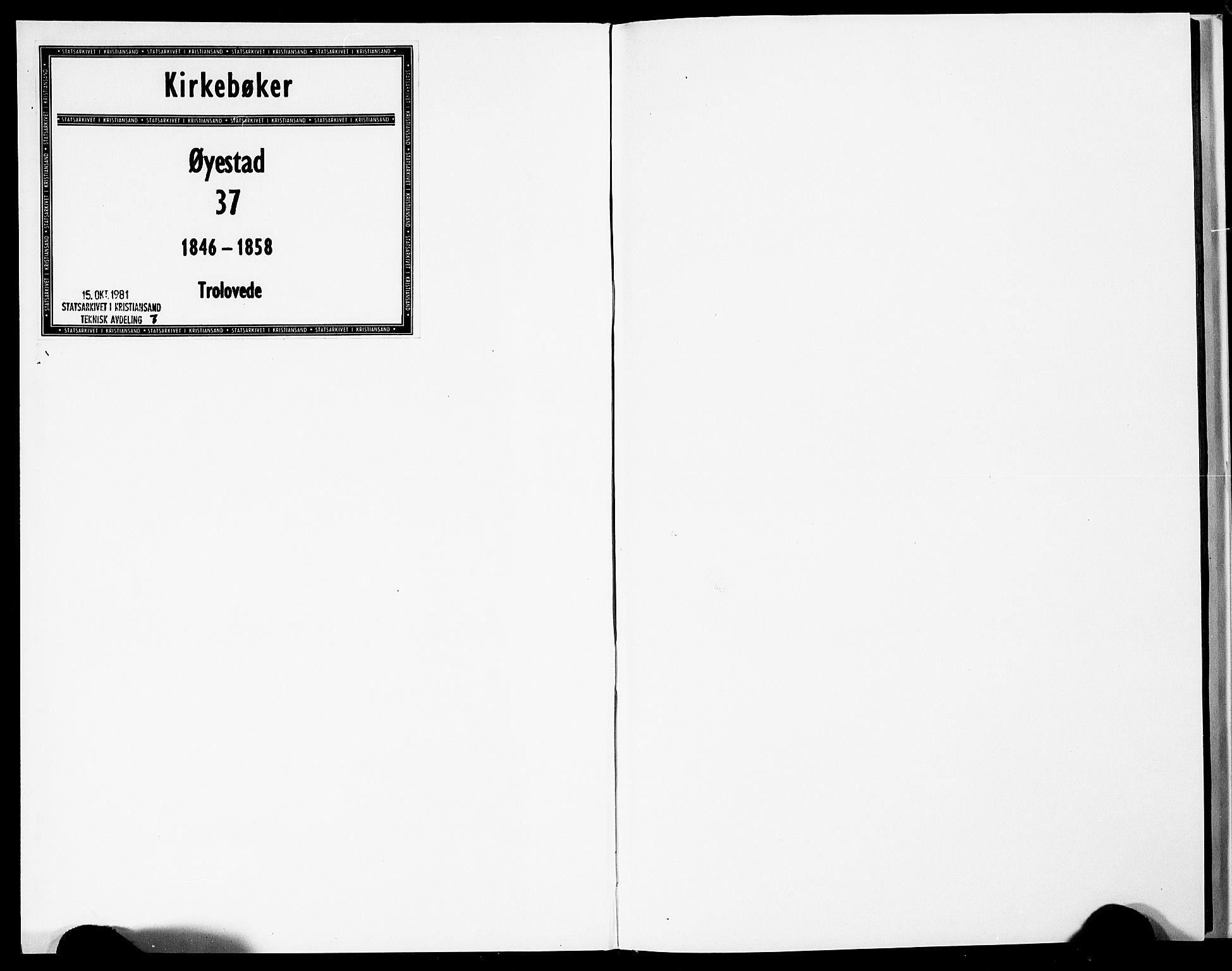 SAK, Øyestad sokneprestkontor, F/Fe/L0003: Forlovererklæringer nr. A VI 21, 1846-1858