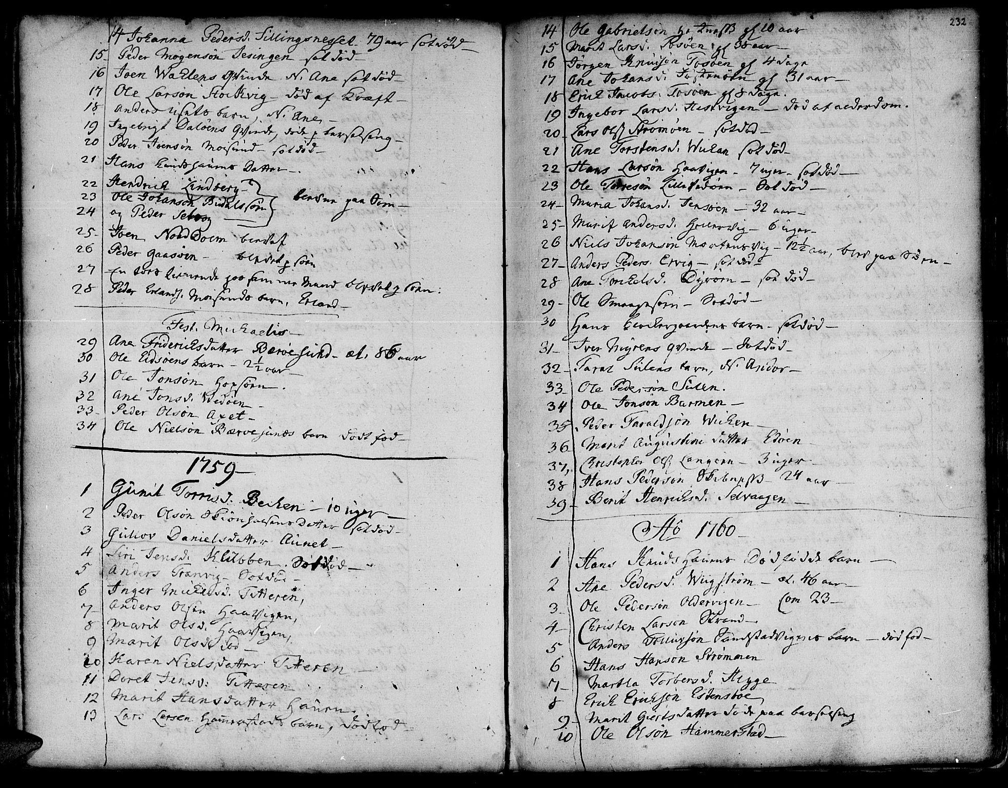 SAT, Ministerialprotokoller, klokkerbøker og fødselsregistre - Sør-Trøndelag, 634/L0525: Ministerialbok nr. 634A01, 1736-1775, s. 232