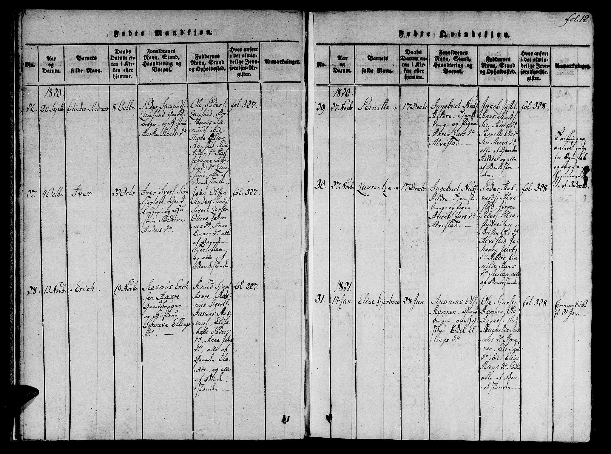 SAT, Ministerialprotokoller, klokkerbøker og fødselsregistre - Møre og Romsdal, 536/L0495: Ministerialbok nr. 536A04, 1818-1847, s. 12