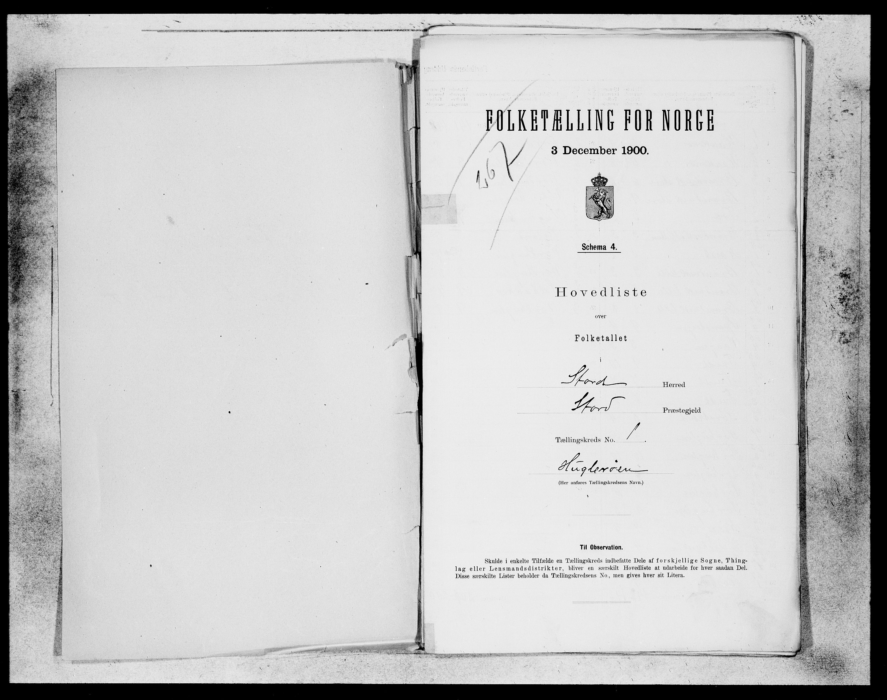 SAB, Folketelling 1900 for 1221 Stord herred, 1900, s. 1