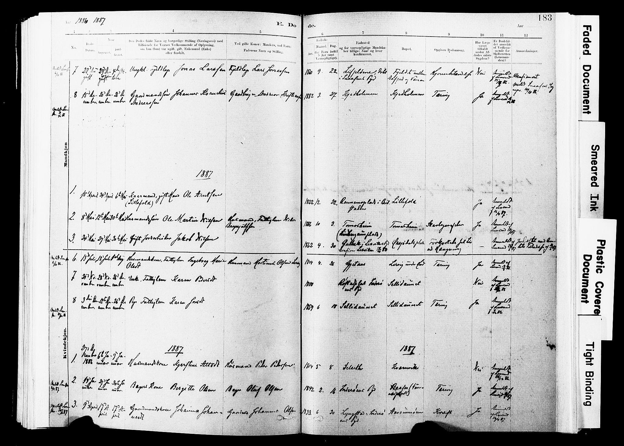 SAT, Ministerialprotokoller, klokkerbøker og fødselsregistre - Nord-Trøndelag, 744/L0420: Ministerialbok nr. 744A04, 1882-1904, s. 183