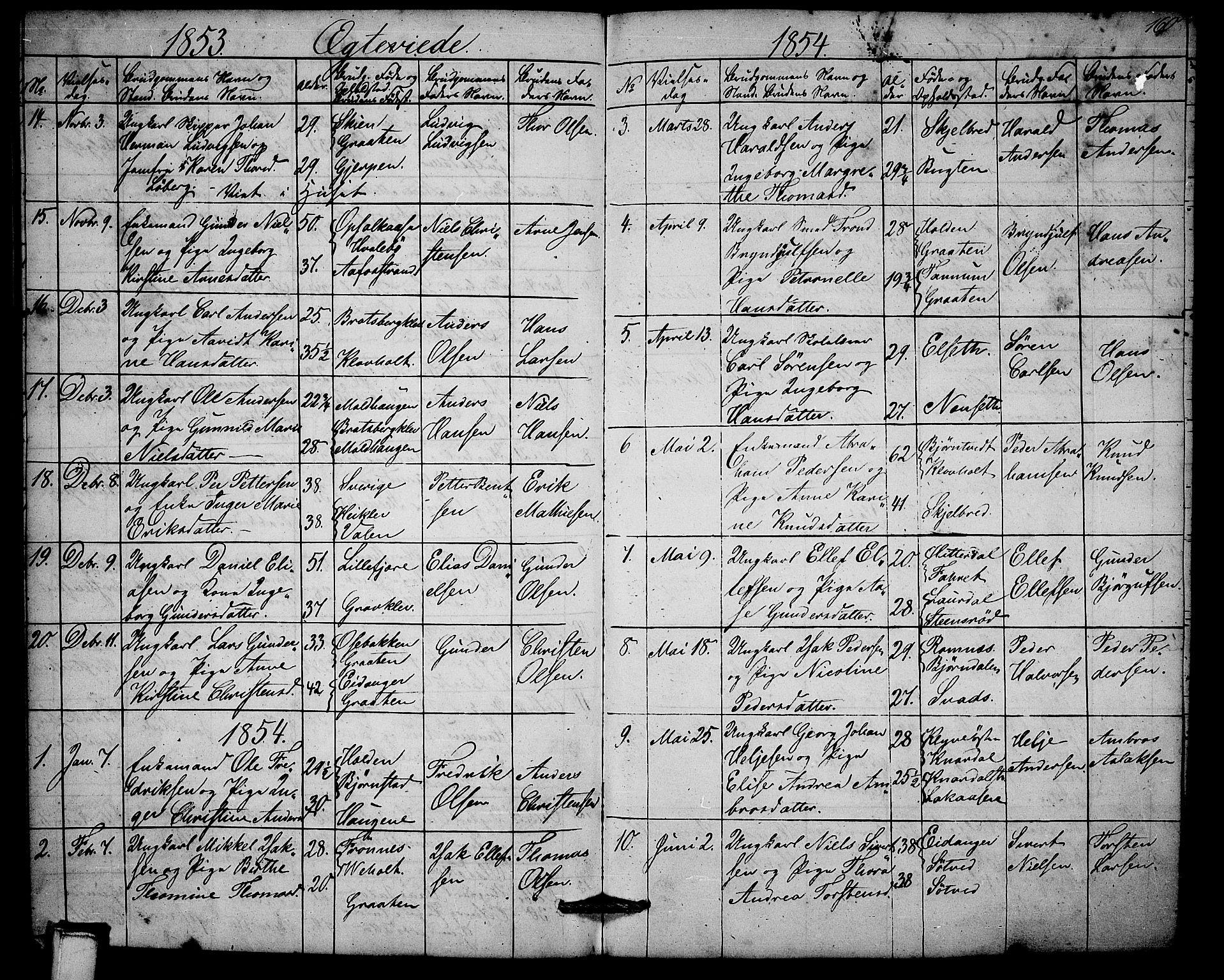 SAKO, Solum kirkebøker, G/Ga/L0003: Klokkerbok nr. I 3, 1848-1859, s. 160