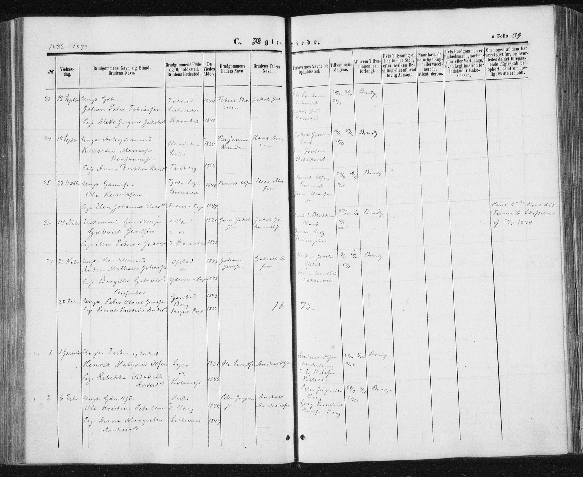 SAT, Ministerialprotokoller, klokkerbøker og fødselsregistre - Nord-Trøndelag, 784/L0670: Ministerialbok nr. 784A05, 1860-1876, s. 39