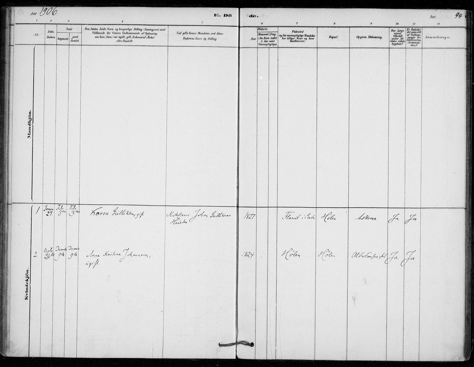SAO, Vestby prestekontor Kirkebøker, F/Fe/L0001: Ministerialbok nr. V 1, 1878-1931, s. 94
