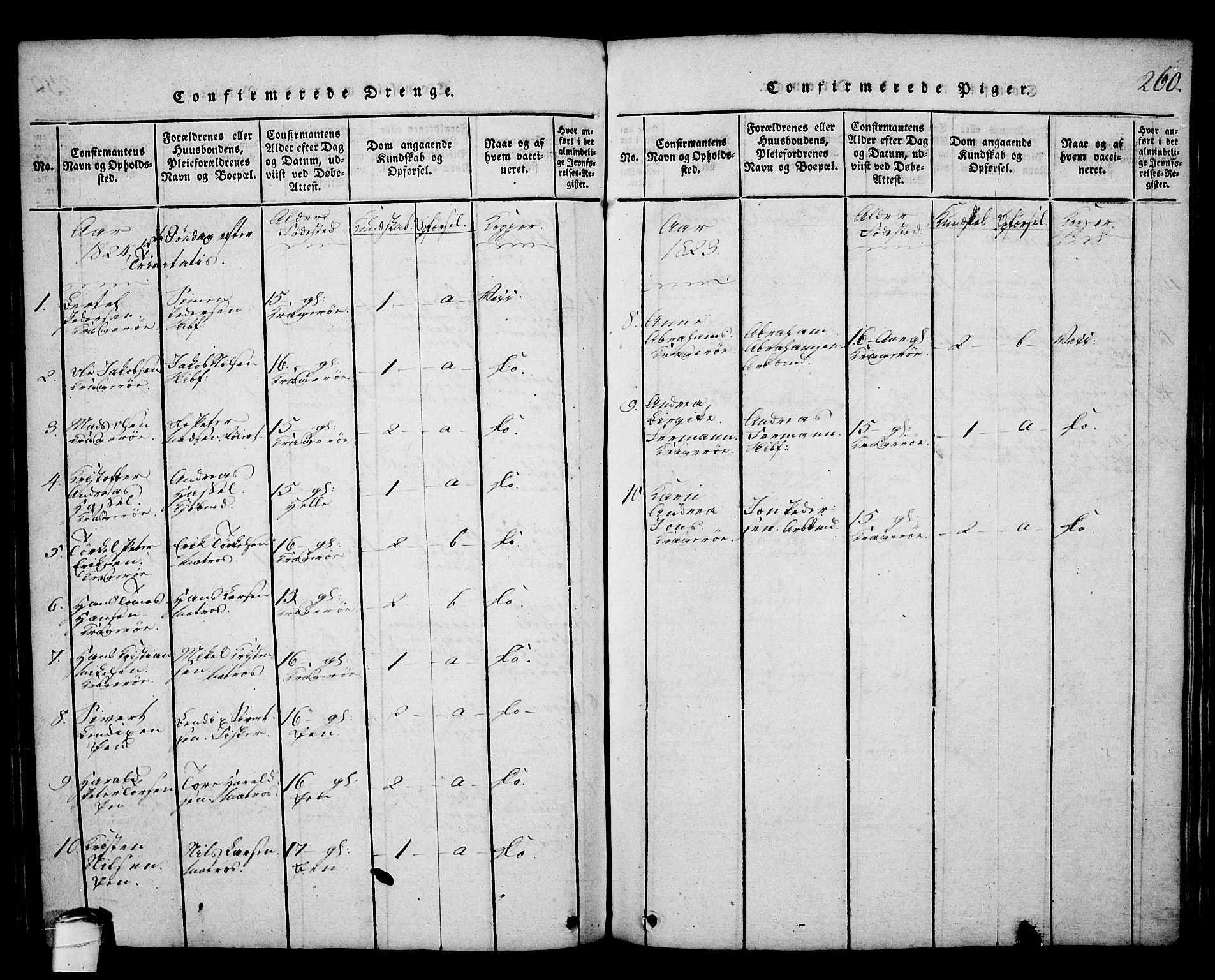 SAKO, Kragerø kirkebøker, G/Ga/L0002: Klokkerbok nr. 2, 1814-1831, s. 260