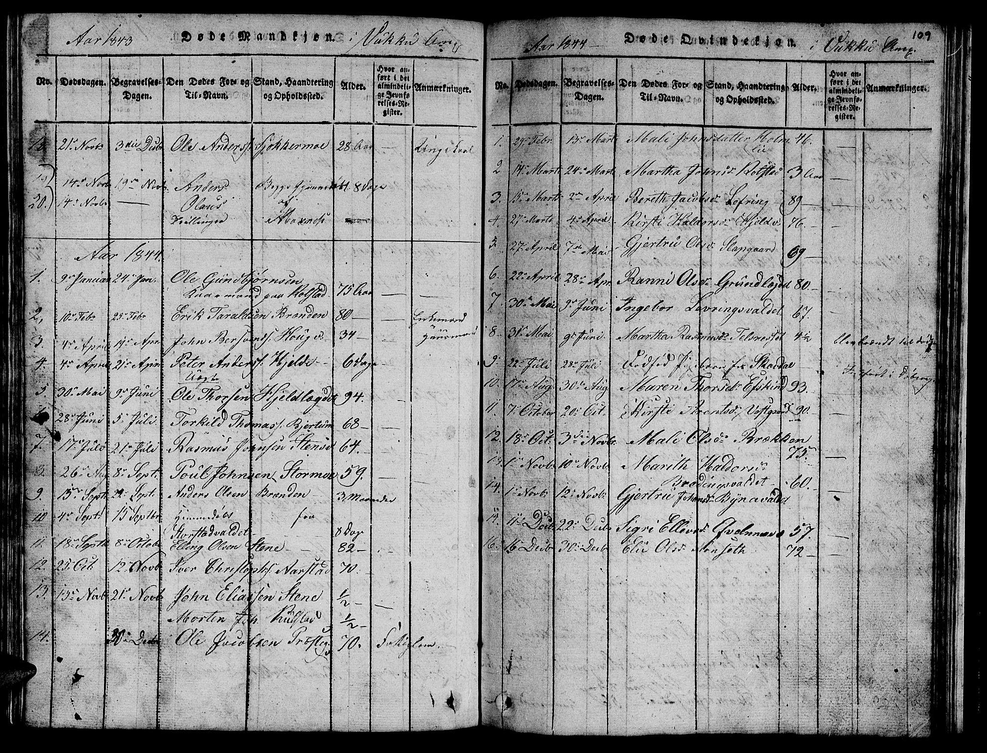 SAT, Ministerialprotokoller, klokkerbøker og fødselsregistre - Nord-Trøndelag, 723/L0251: Klokkerbok nr. 723C01 /2, 1843-1845, s. 109