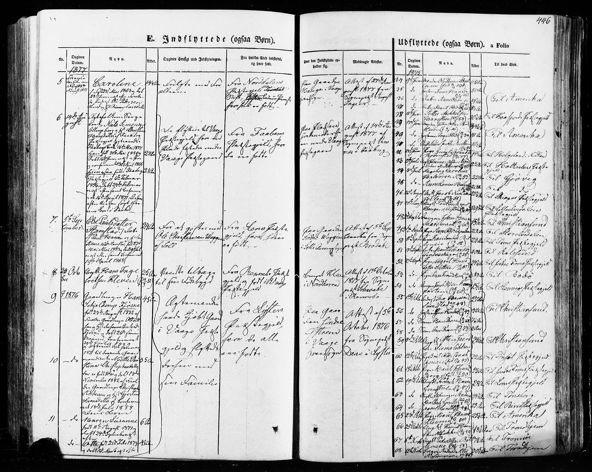 SAH, Vågå prestekontor, Ministerialbok nr. 7 /1, 1872-1886, s. 446
