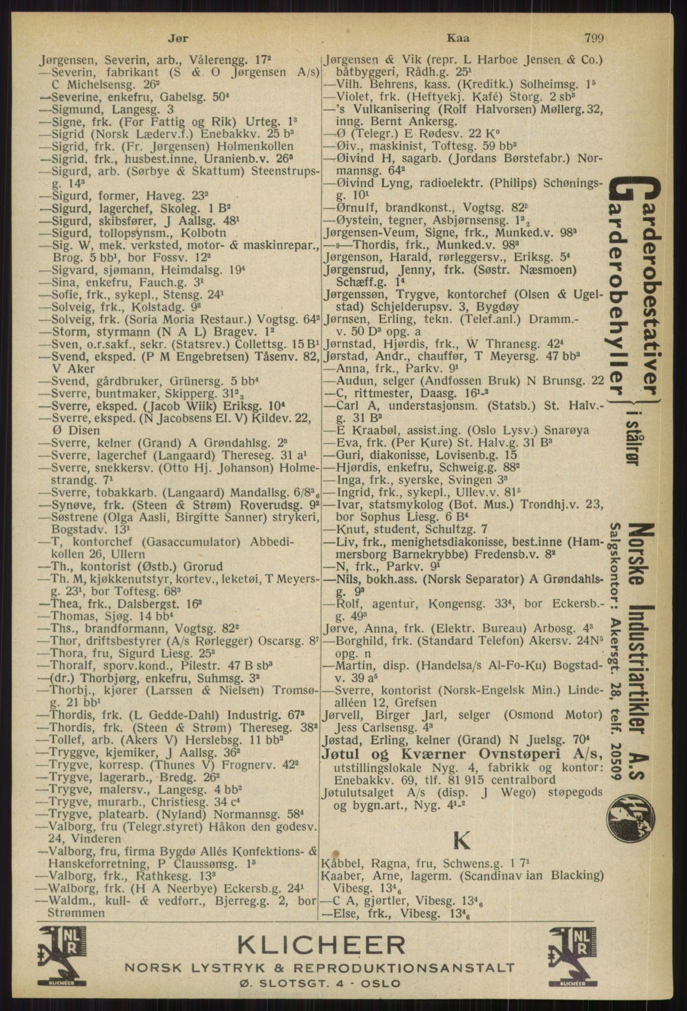 RA, Oslo adressebok (publikasjon)*, 1936, s. 799