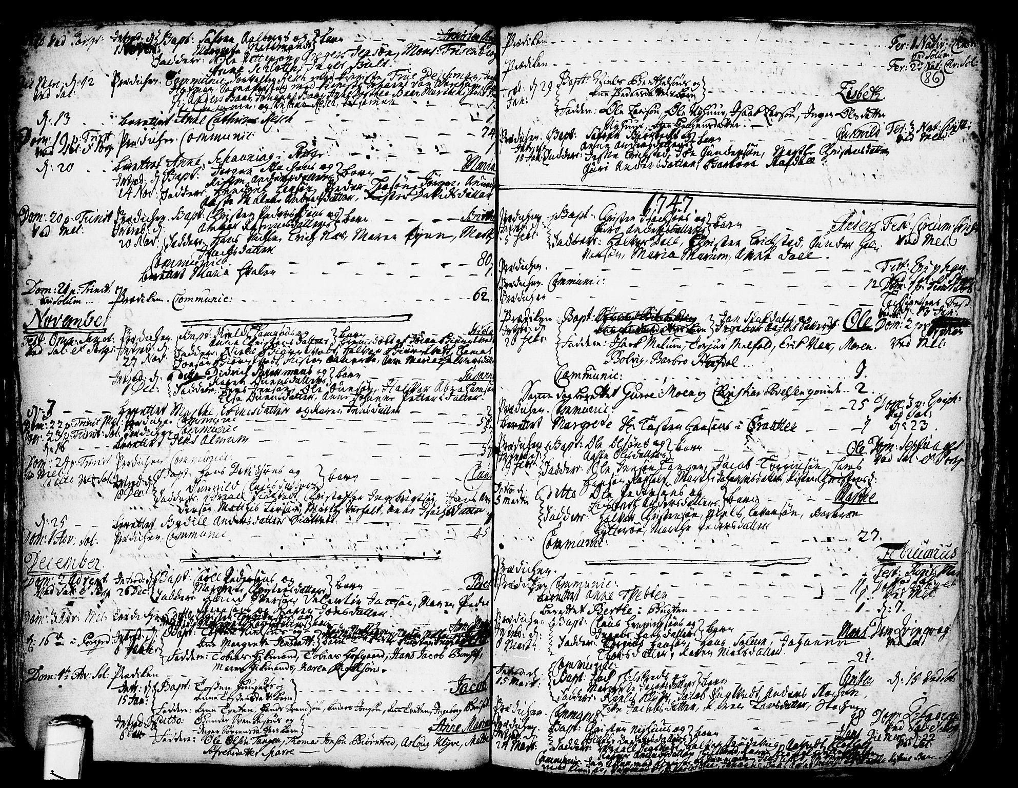 SAKO, Solum kirkebøker, F/Fa/L0002: Ministerialbok nr. I 2, 1713-1761, s. 86