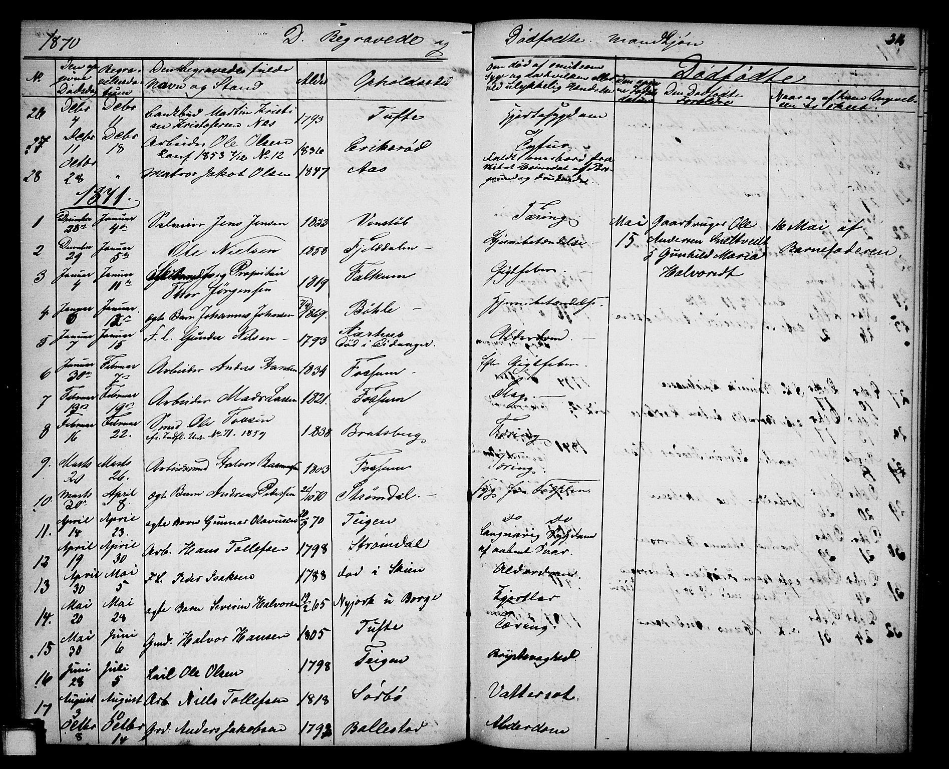 SAKO, Gjerpen kirkebøker, G/Ga/L0001: Klokkerbok nr. I 1, 1864-1882, s. 314