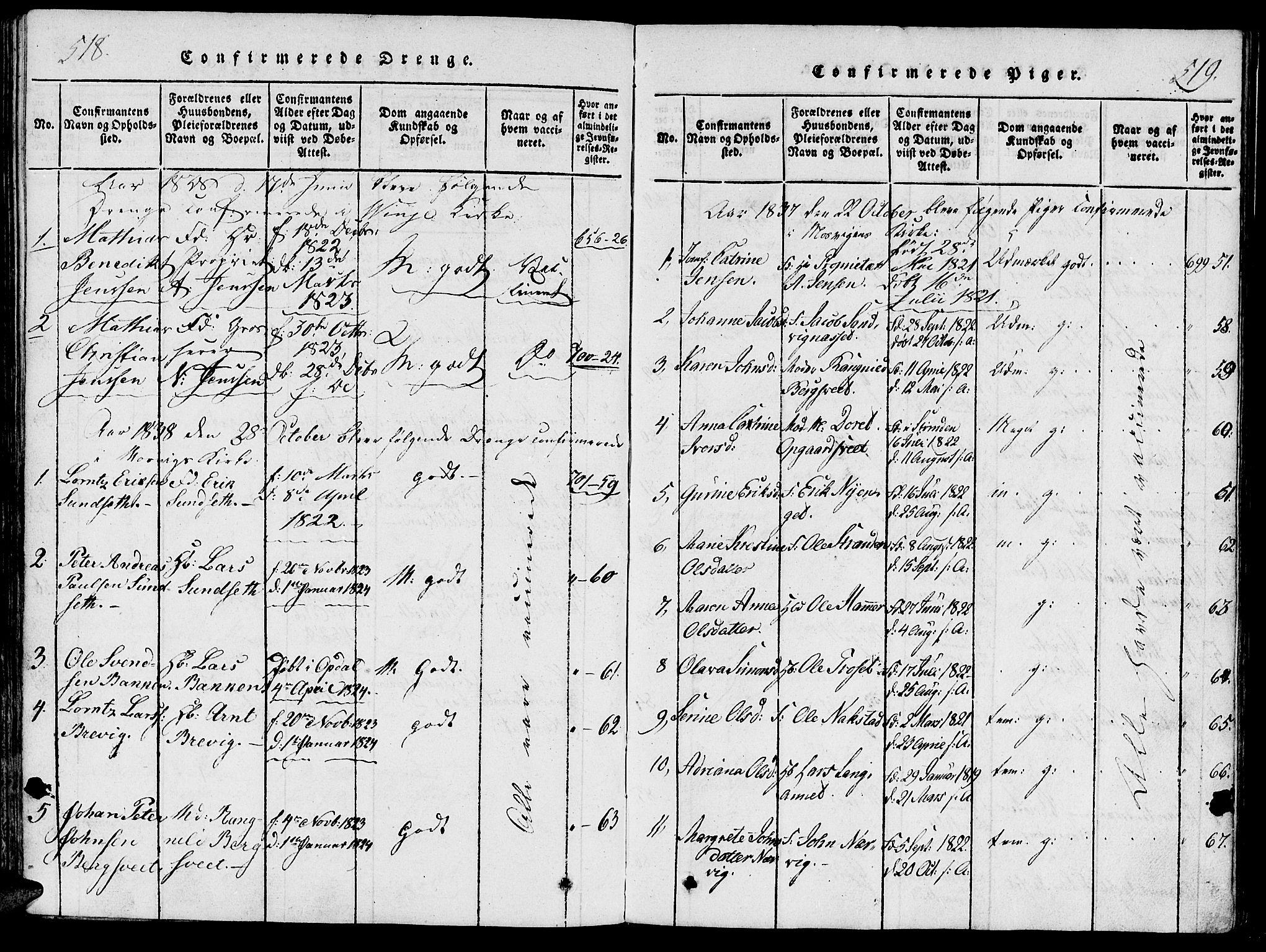 SAT, Ministerialprotokoller, klokkerbøker og fødselsregistre - Nord-Trøndelag, 733/L0322: Ministerialbok nr. 733A01, 1817-1842, s. 518-519