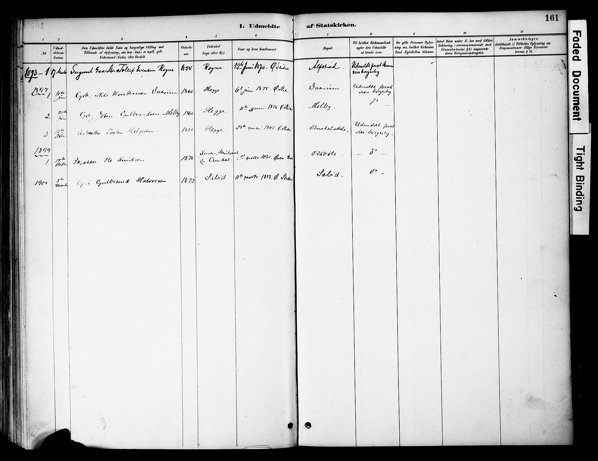 SAH, Øystre Slidre prestekontor, Ministerialbok nr. 4, 1887-1910, s. 161
