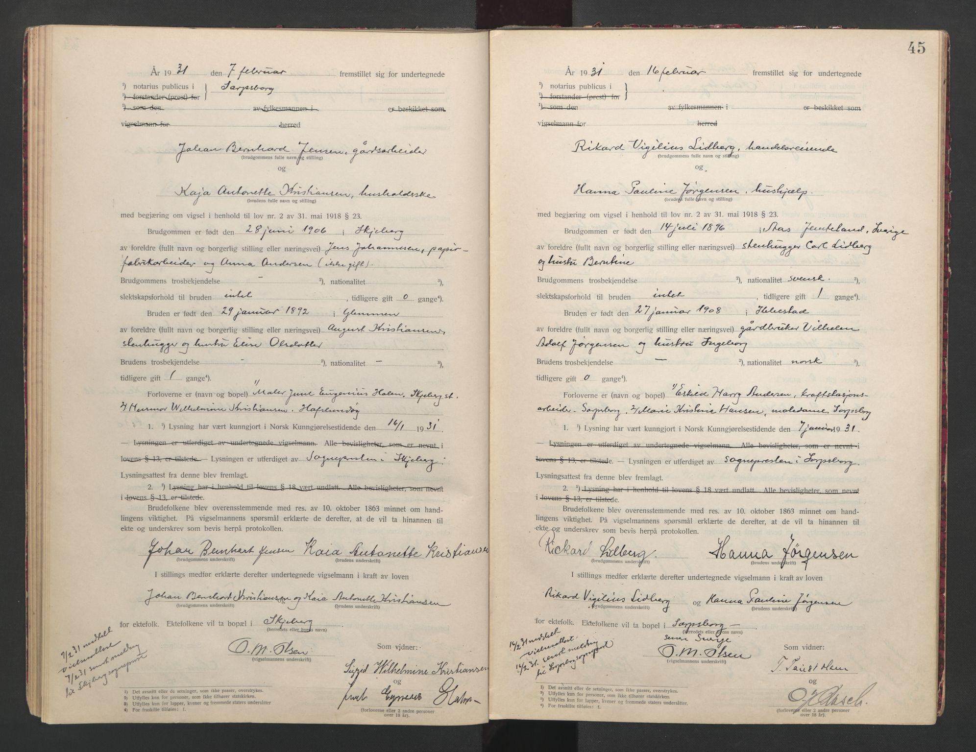SAO, Sarpsborg byfogd, L/Lb/Lba/L0001: Vigselbok, 1920-1941, s. 45