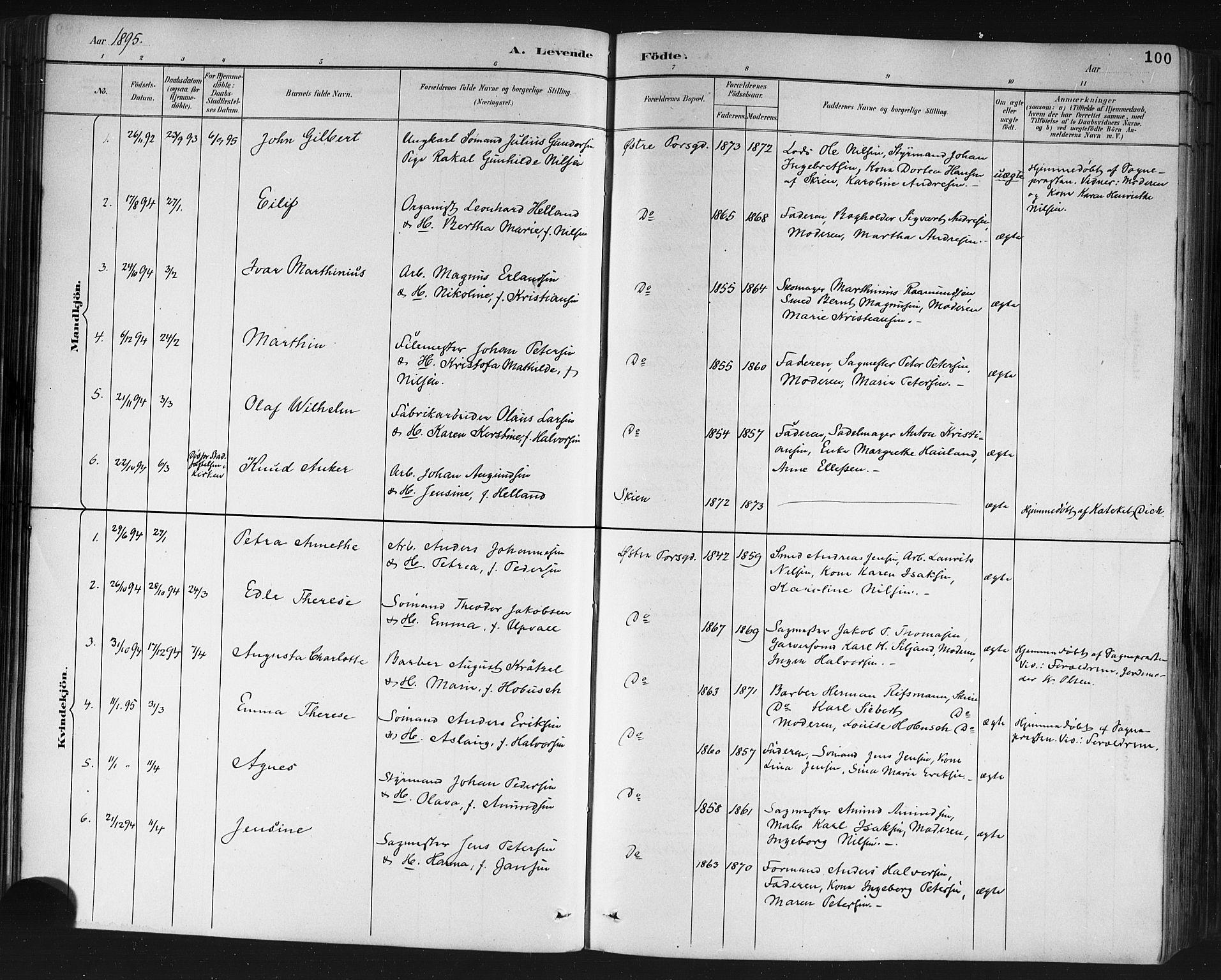 SAKO, Porsgrunn kirkebøker , G/Gb/L0005: Klokkerbok nr. II 5, 1883-1915, s. 100