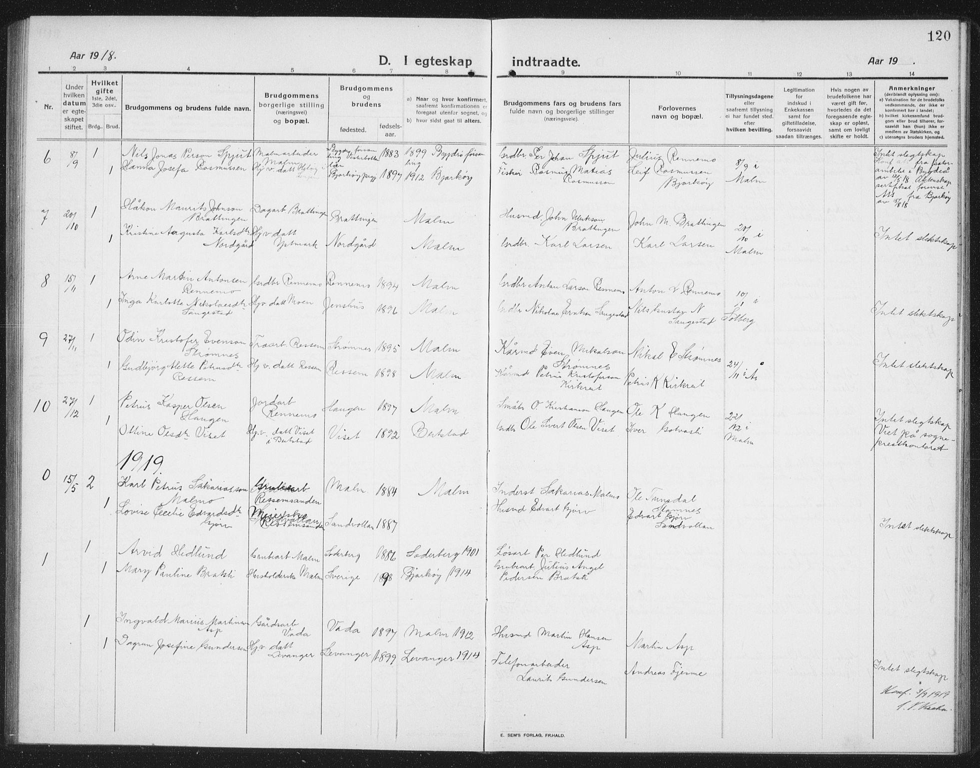 SAT, Ministerialprotokoller, klokkerbøker og fødselsregistre - Nord-Trøndelag, 745/L0434: Klokkerbok nr. 745C03, 1914-1937, s. 120