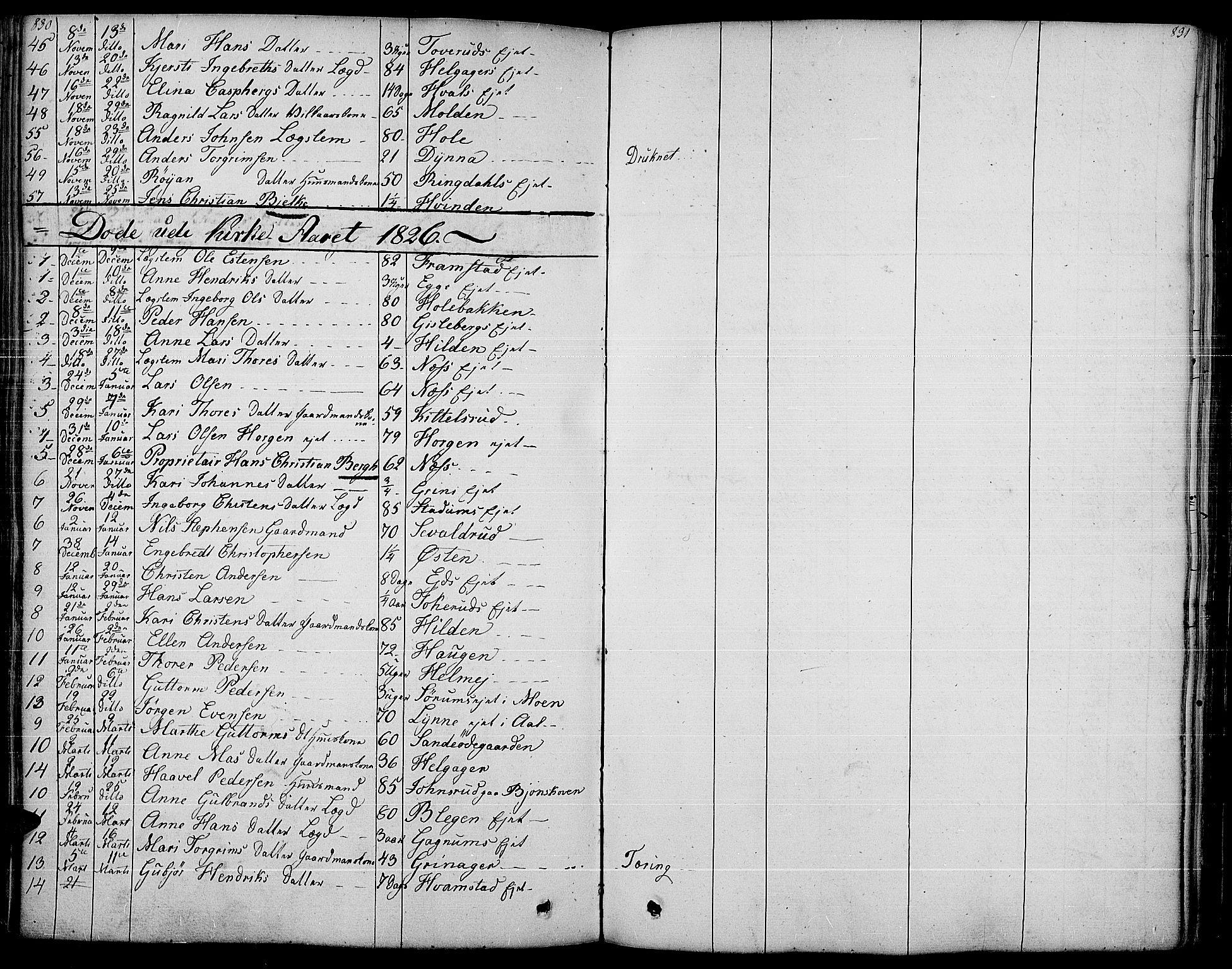 SAH, Gran prestekontor, Ministerialbok nr. 10, 1824-1842, s. 830-831