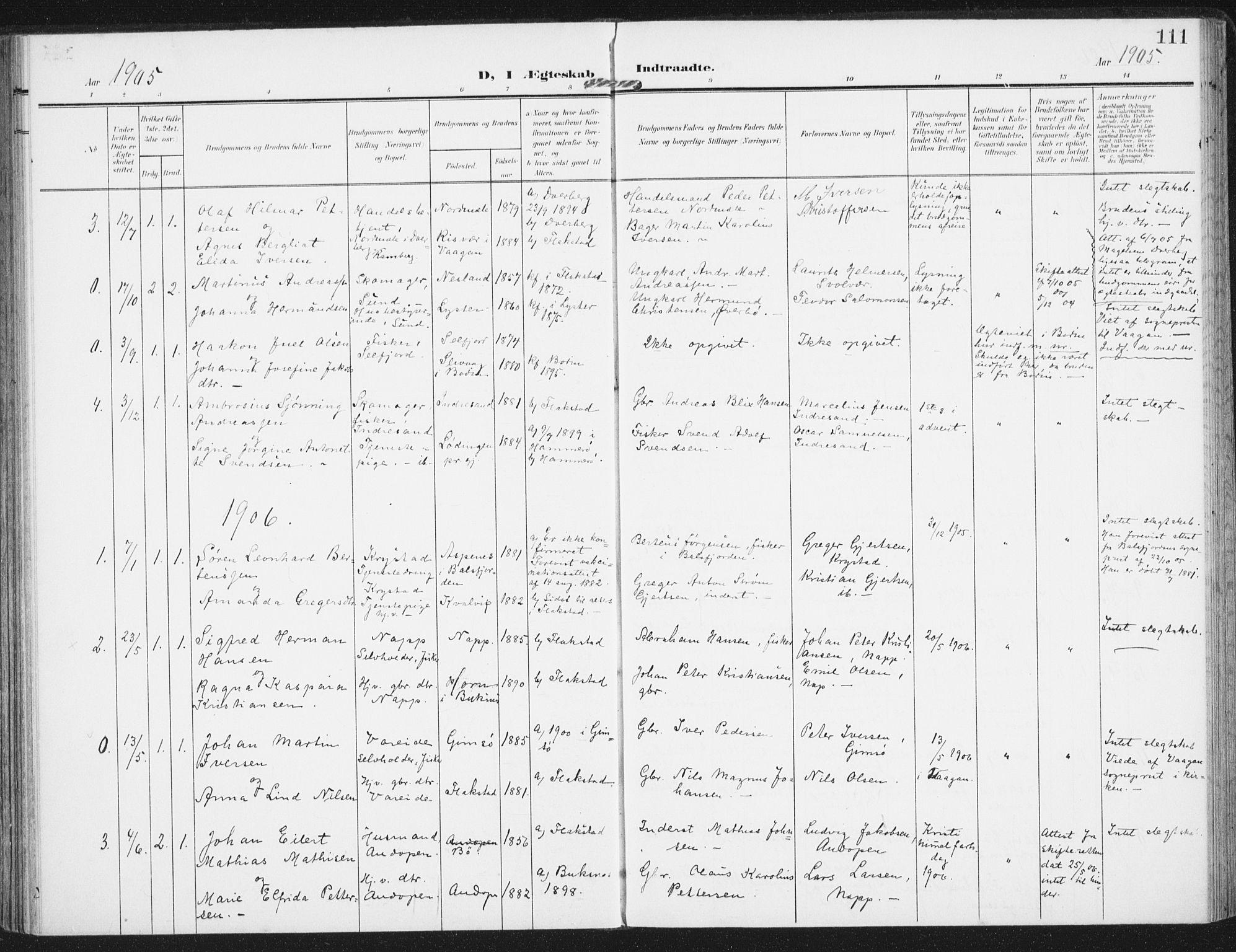 SAT, Ministerialprotokoller, klokkerbøker og fødselsregistre - Nordland, 885/L1206: Ministerialbok nr. 885A07, 1905-1915, s. 111
