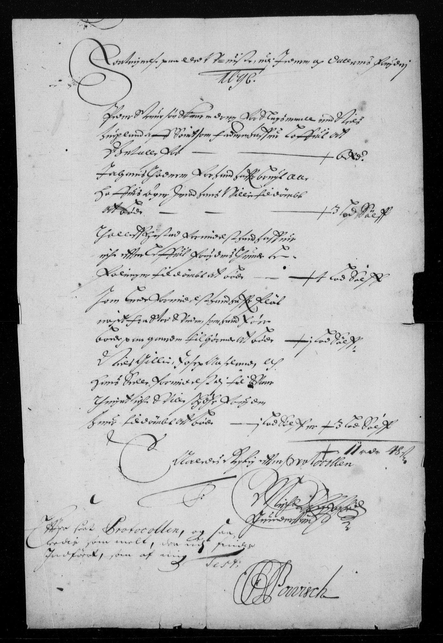RA, Rentekammeret inntil 1814, Reviderte regnskaper, Fogderegnskap, R46/L2728: Fogderegnskap Jæren og Dalane, 1694-1696, s. 407