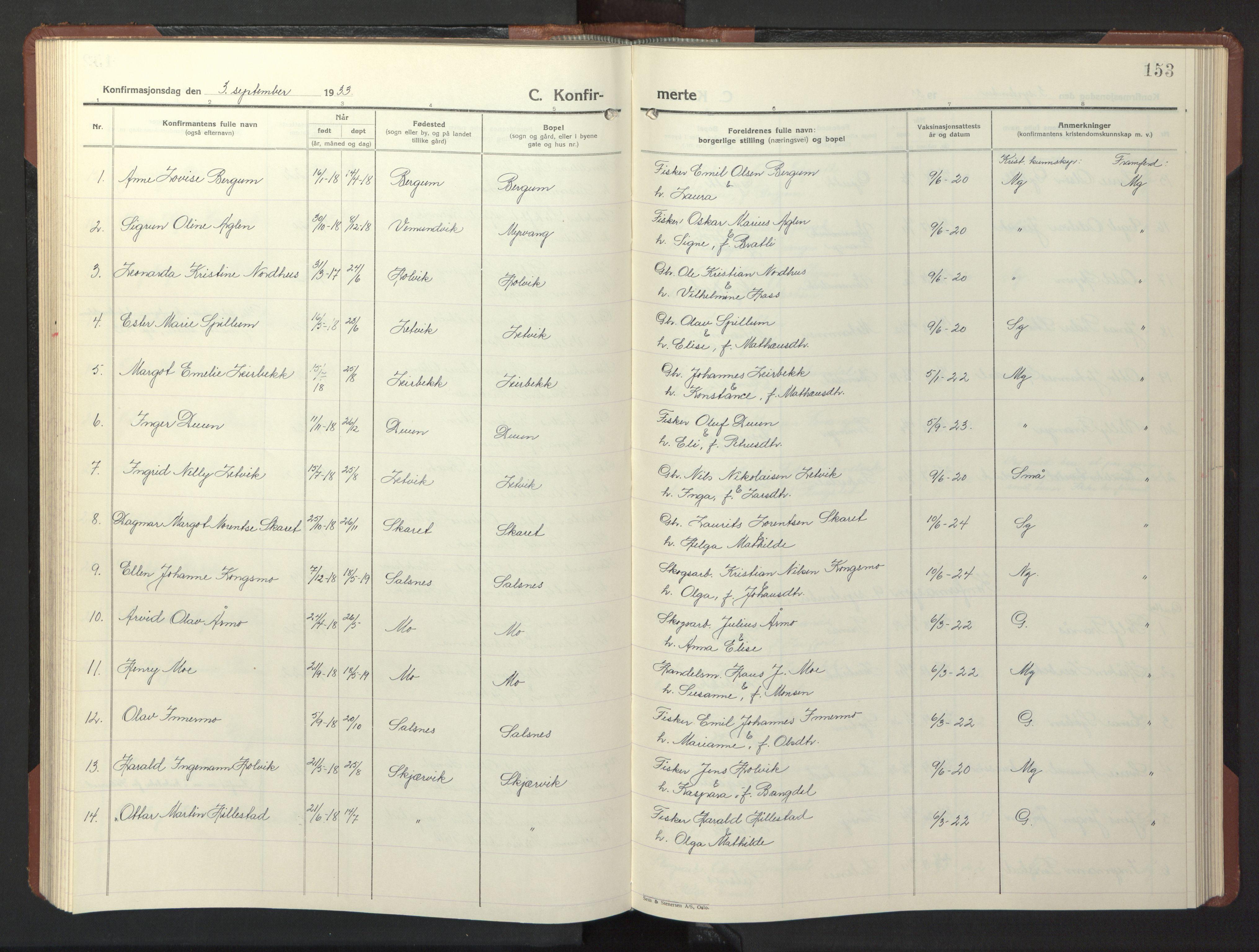SAT, Ministerialprotokoller, klokkerbøker og fødselsregistre - Nord-Trøndelag, 773/L0625: Klokkerbok nr. 773C01, 1910-1952, s. 153